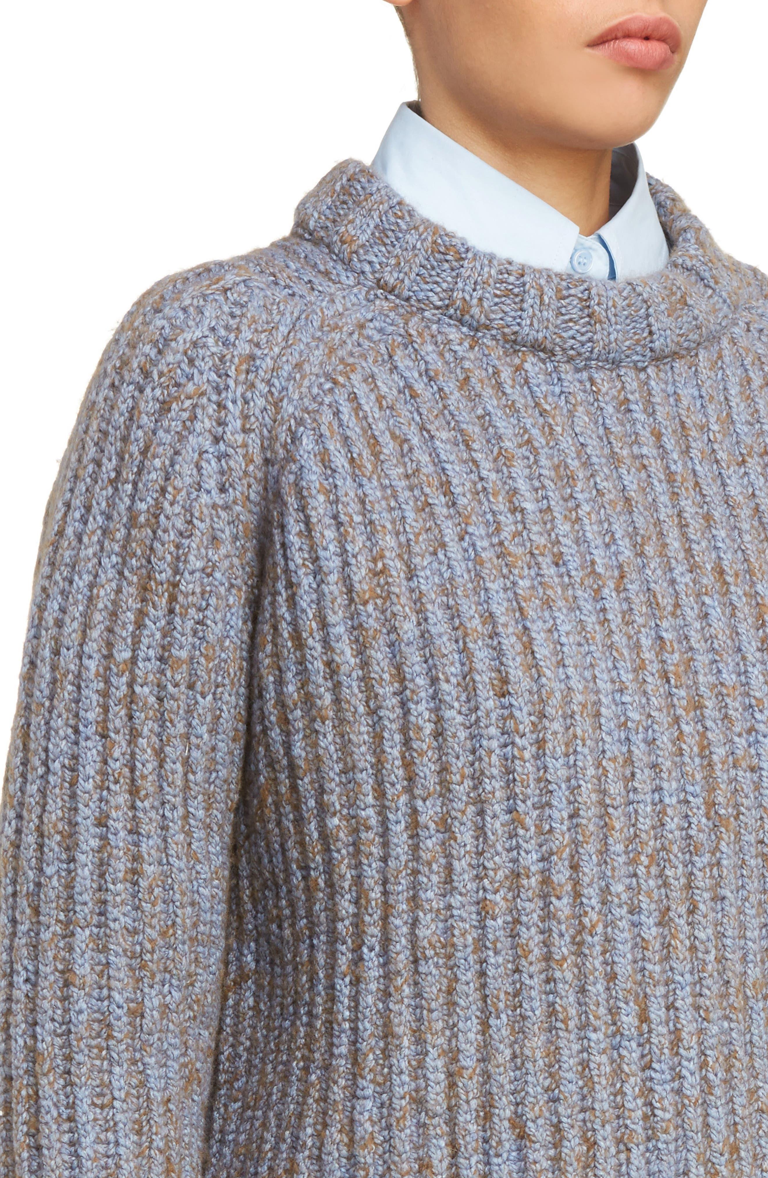 Sandy Mouline Cable Knit Sweater,                             Alternate thumbnail 4, color,                             400