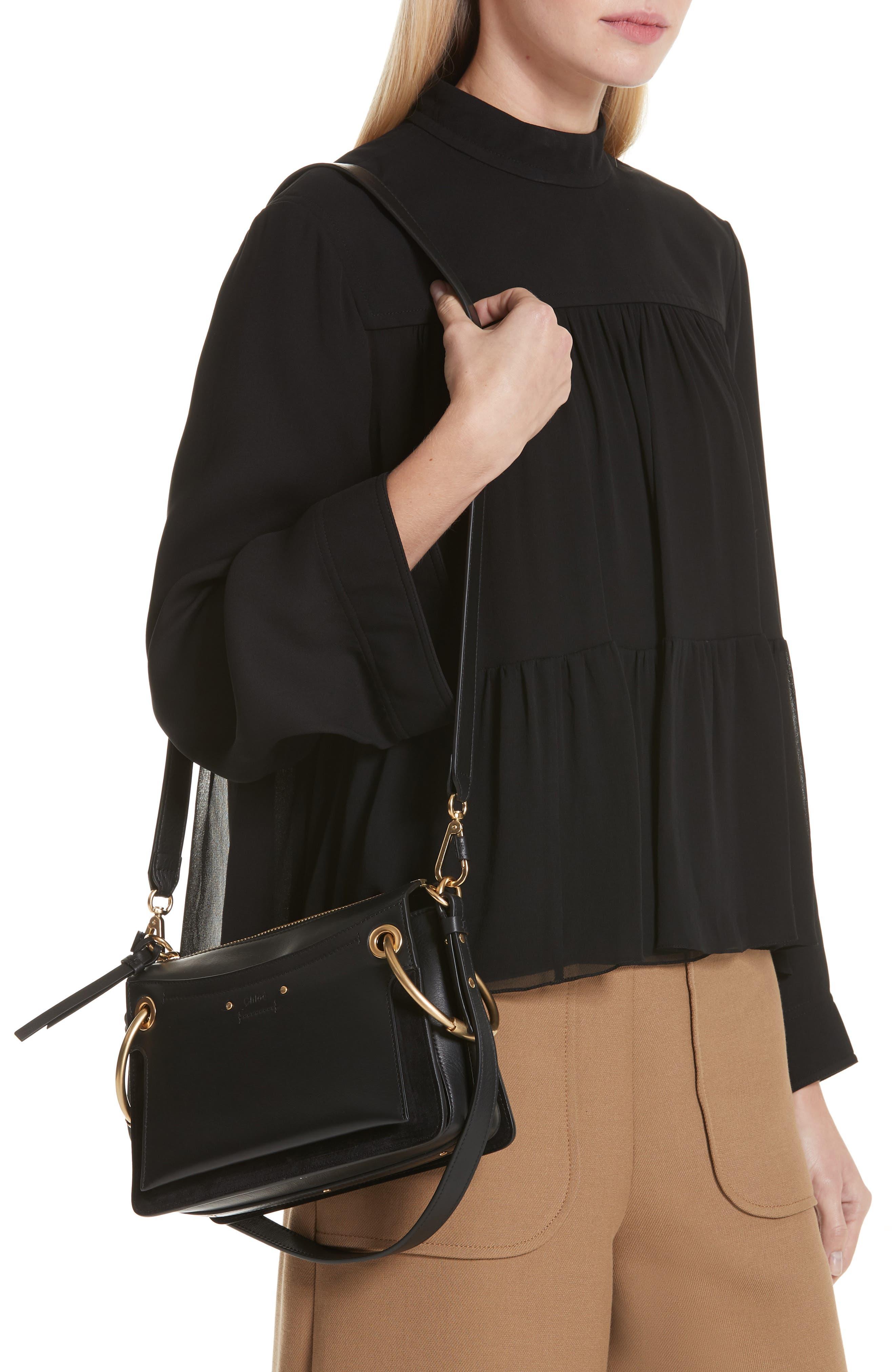 Small Roy Leather Shoulder Bag,                             Alternate thumbnail 3, color,                             BLACK