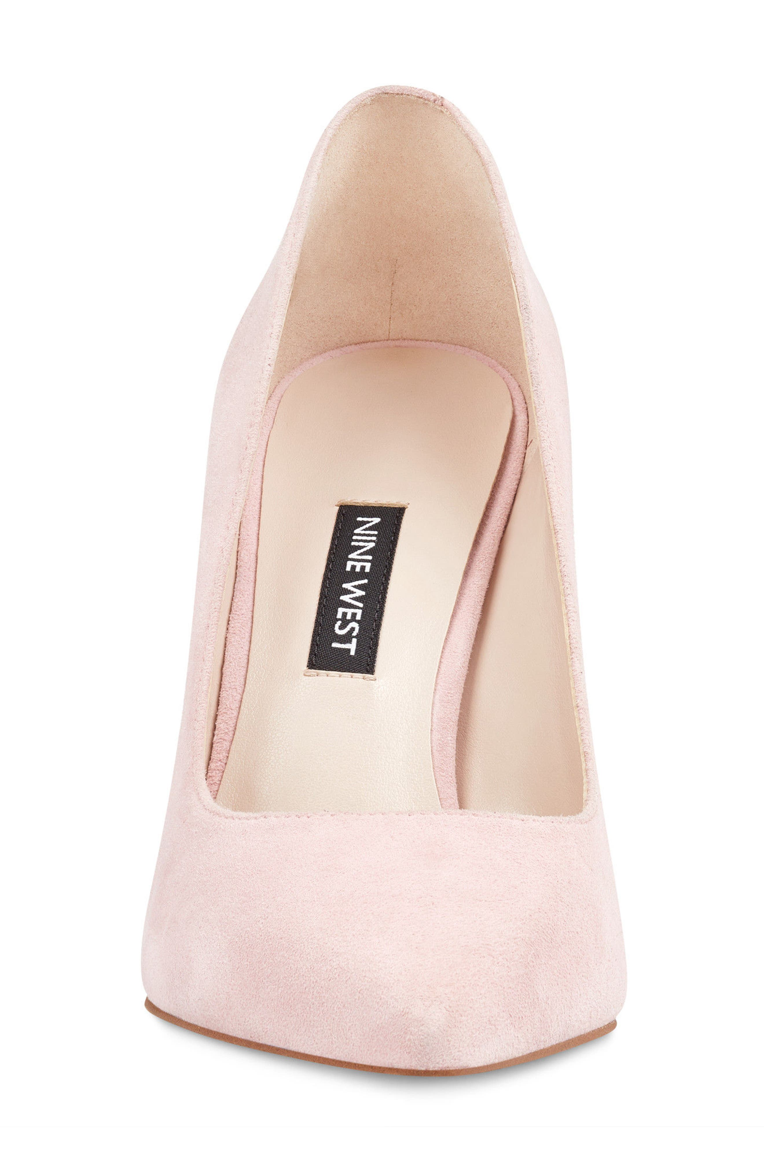 'Tatiana' Pointy Toe Pump,                             Alternate thumbnail 4, color,                             LIGHT PINK SUEDE