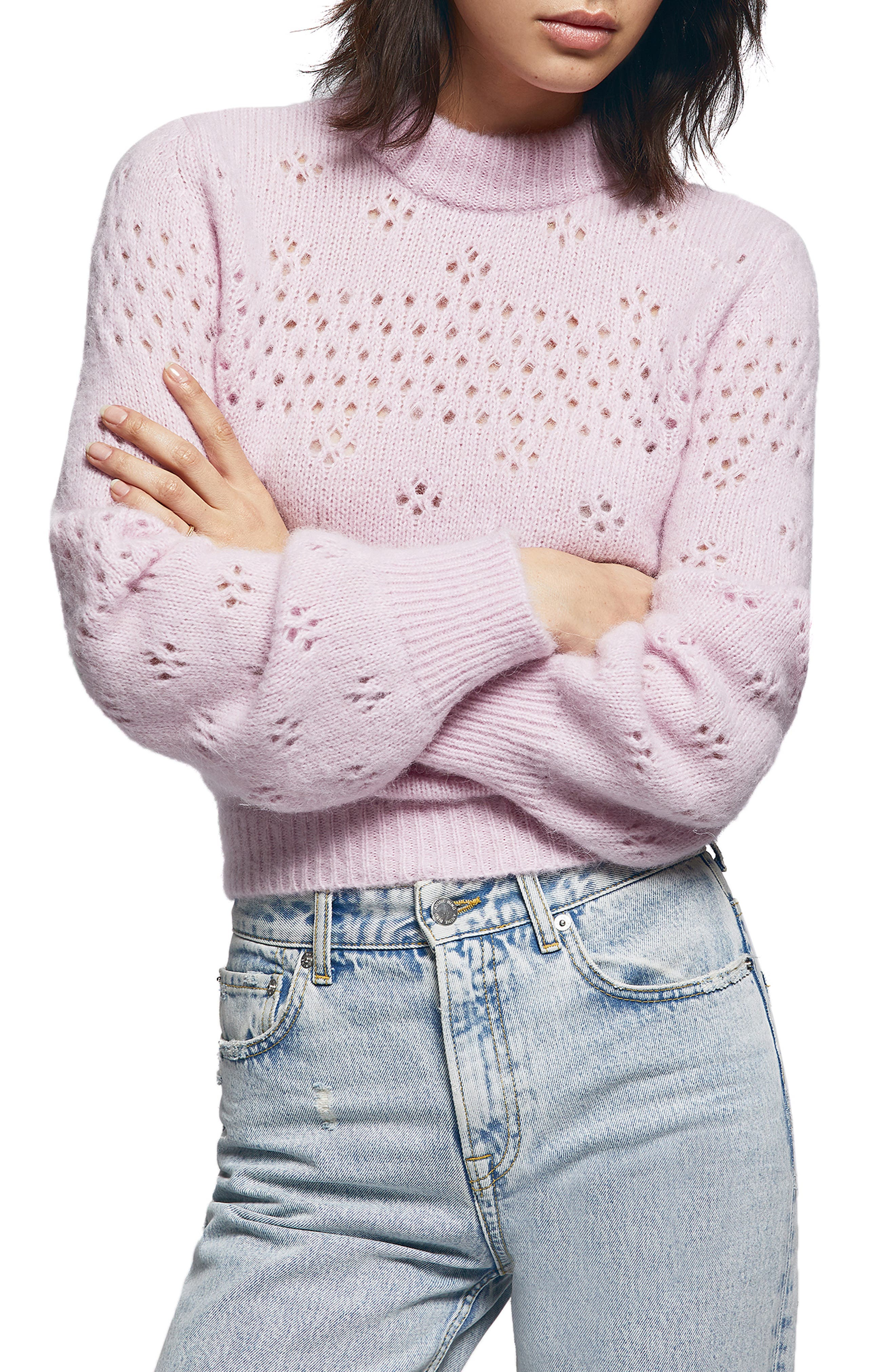 Candice Pointelle Sweater,                             Main thumbnail 1, color,                             ROSE