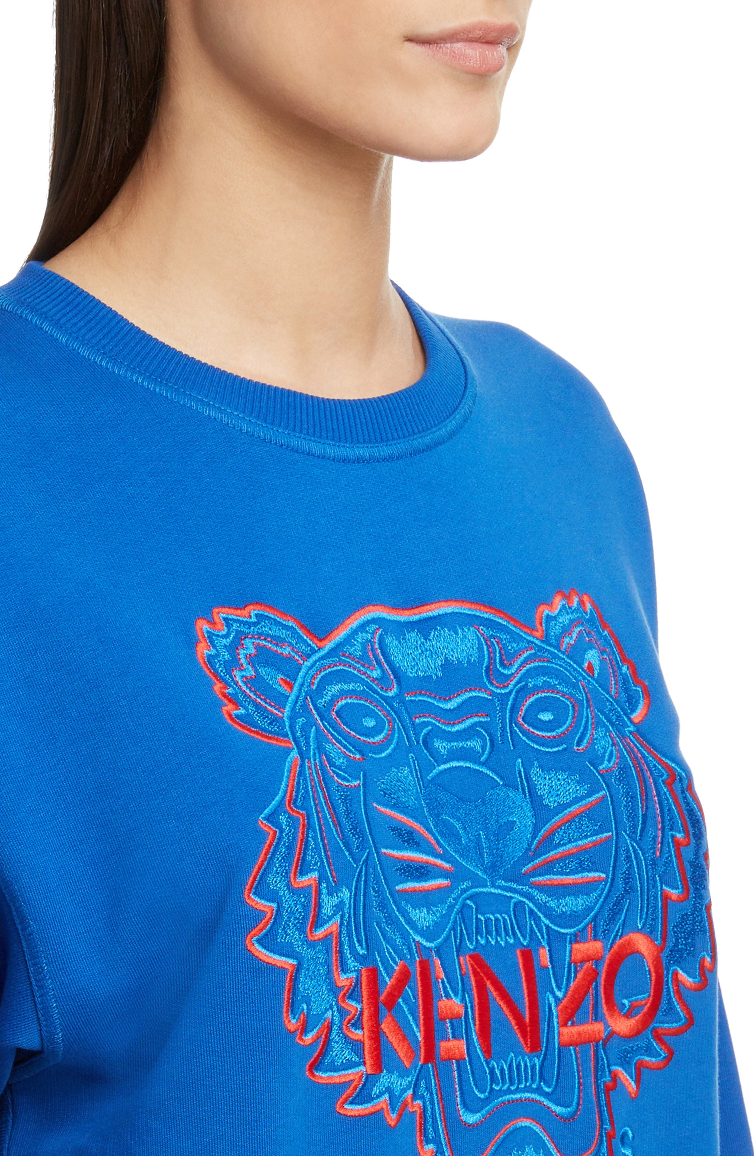 Bicolor Embroidered Tiger Sweatshirt,                             Alternate thumbnail 4, color,                             FRENCH BLUE