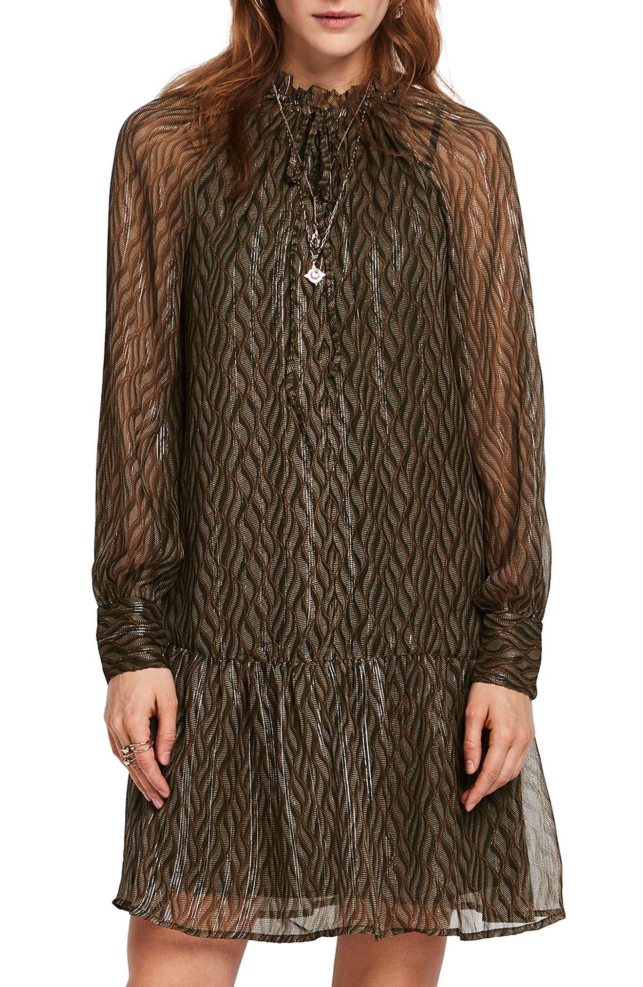Print Metallic Ruffle Hem Dress,                             Main thumbnail 1, color,                             SAGE GREEN PRINT W/