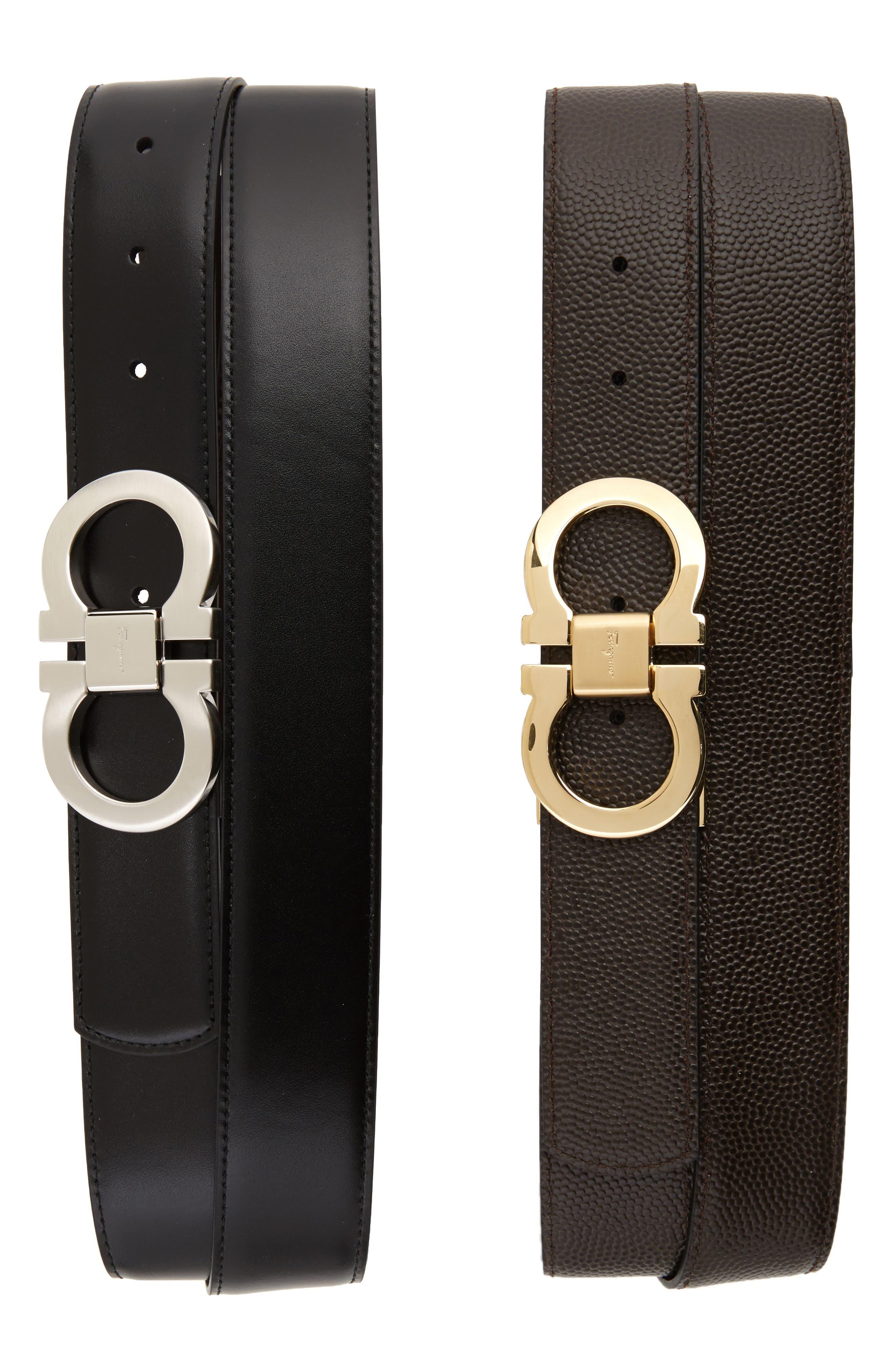 SALVATORE FERRAGAMO,                             Leather Belt Box Set,                             Main thumbnail 1, color,                             BLACK/ BROWN