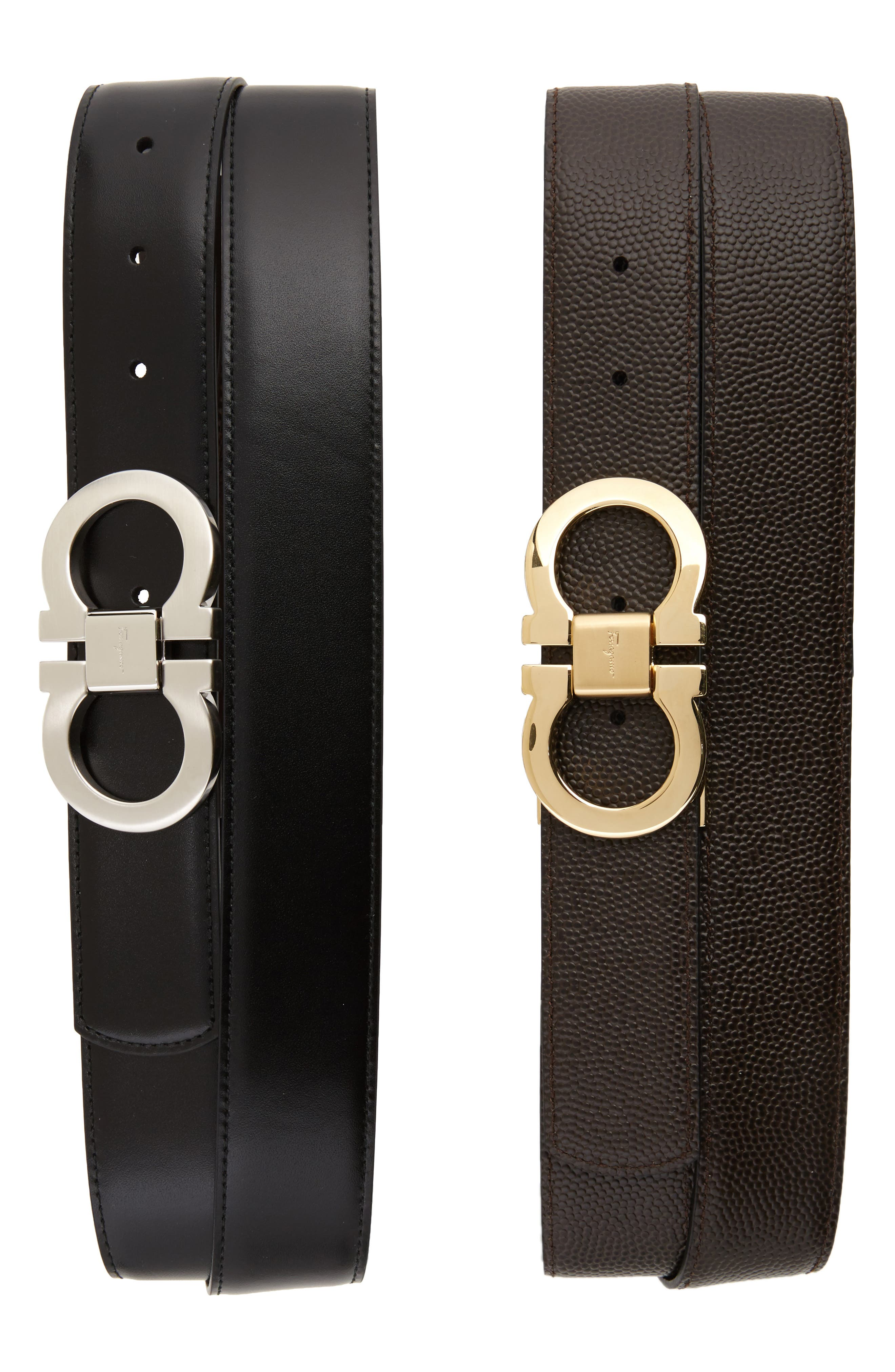 SALVATORE FERRAGAMO Leather Belt Box Set, Main, color, BLACK/ BROWN