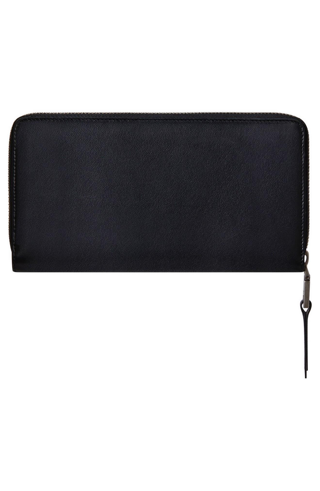 Embossed Logo Leather Zip Around Wallet,                             Alternate thumbnail 3, color,                             BLACK