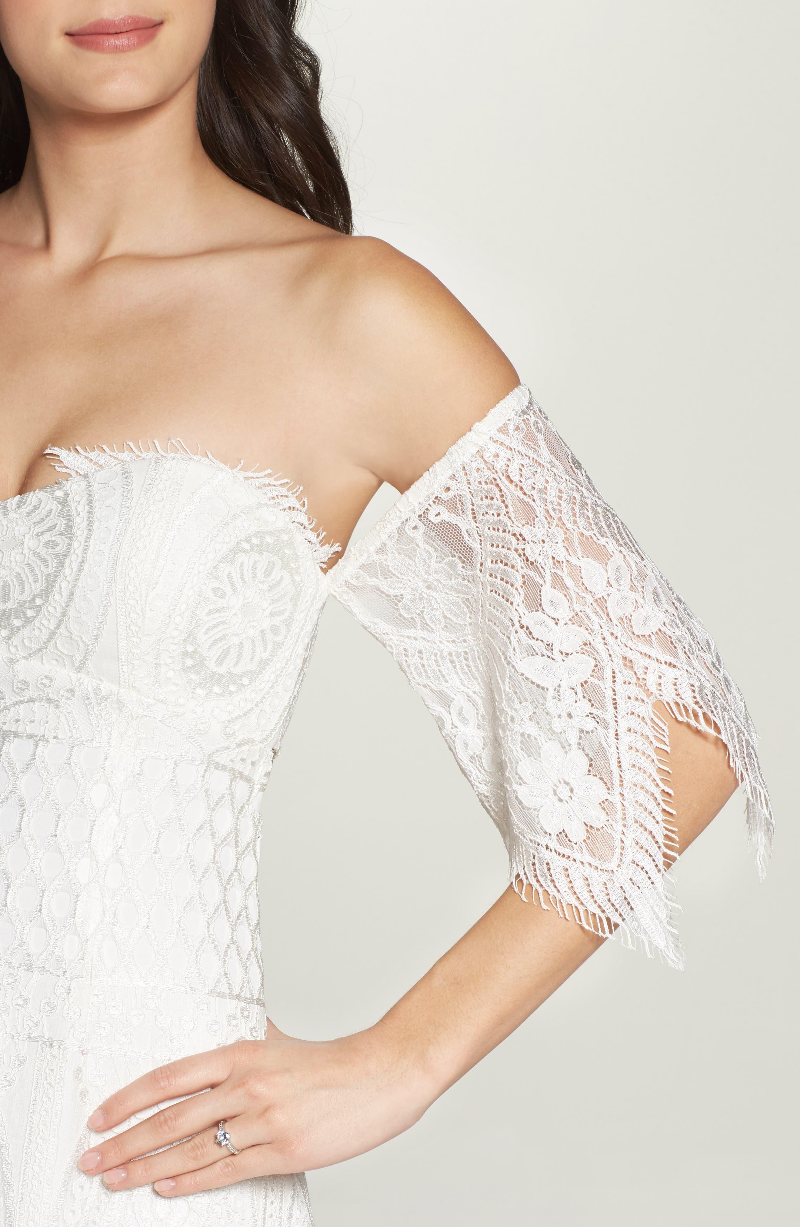Lace Off the Shoulder Maxi Dress,                             Alternate thumbnail 4, color,                             900