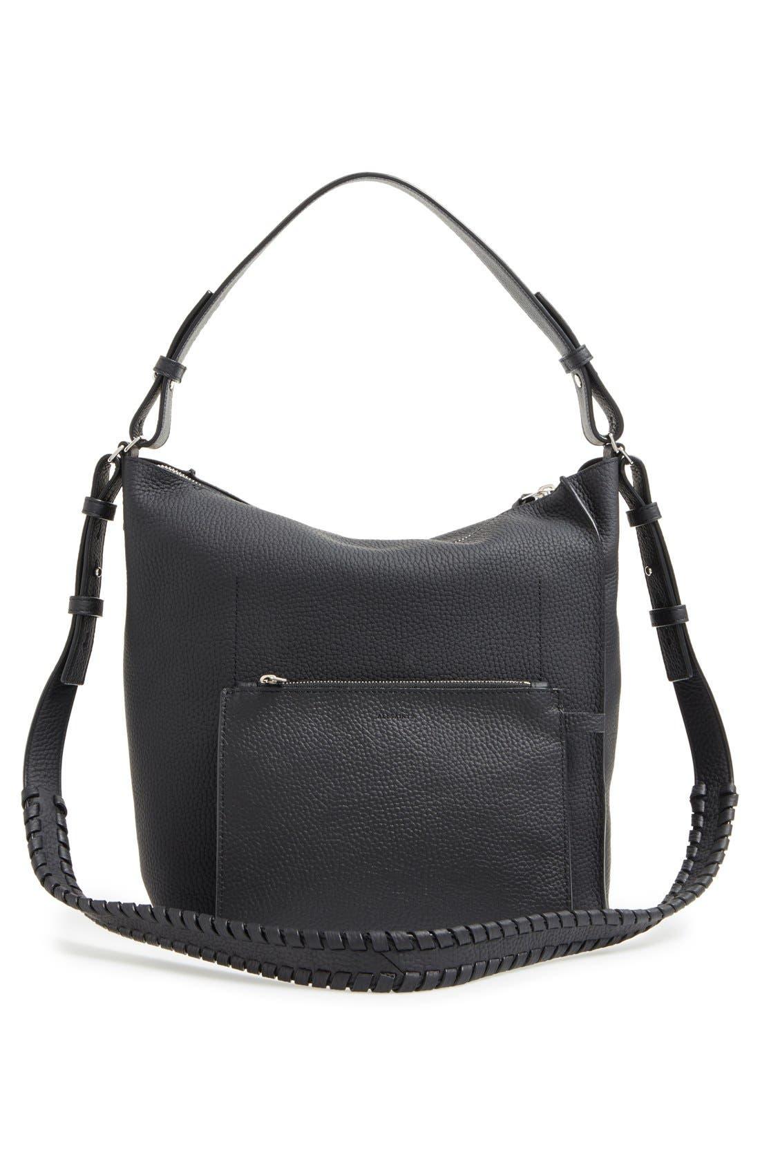 'Kita' Leather Shoulder/Crossbody Bag,                             Alternate thumbnail 5, color,                             BLACK