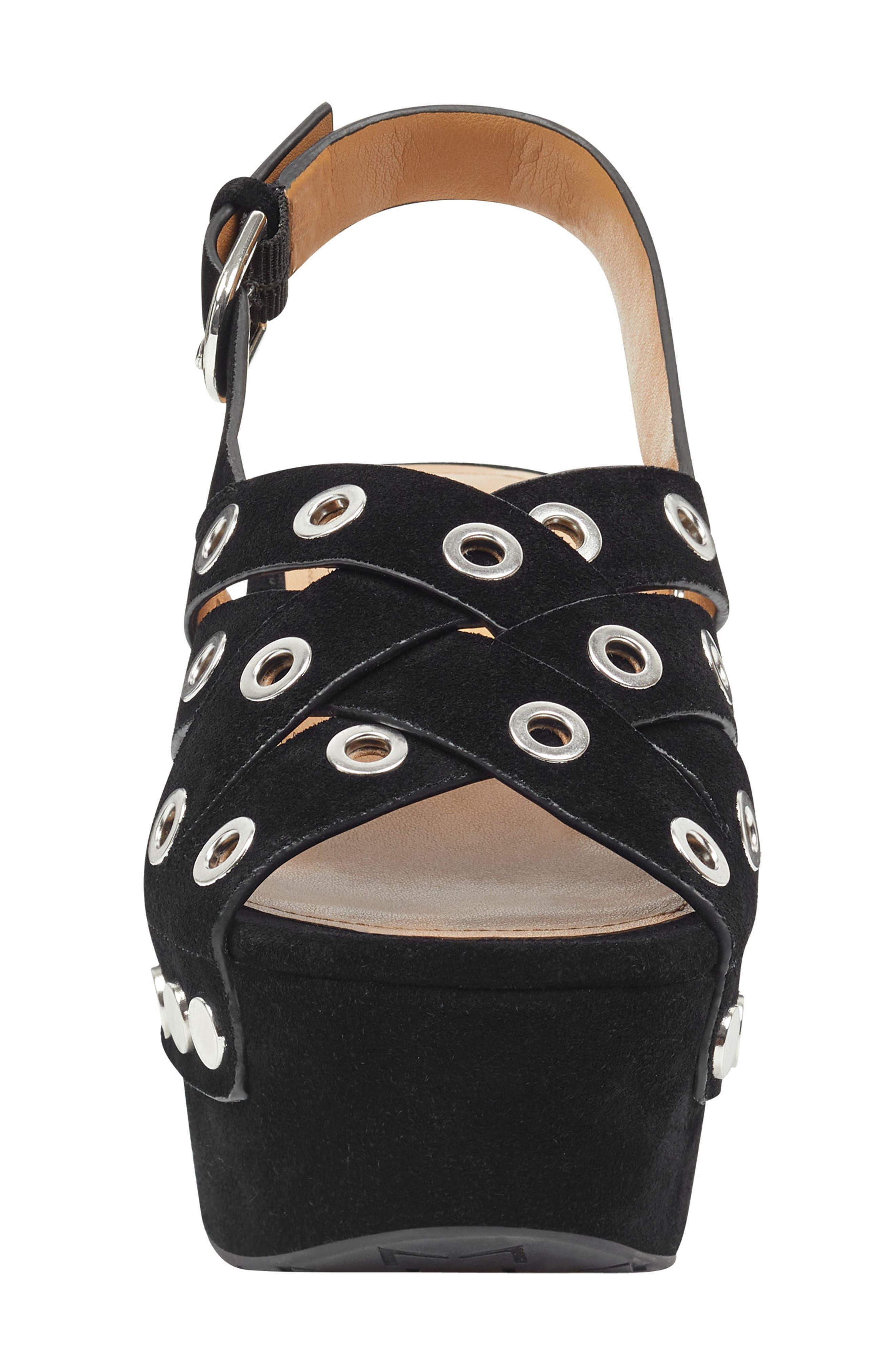 Bloom Platform Sandal,                             Alternate thumbnail 4, color,                             BLACK SUEDE