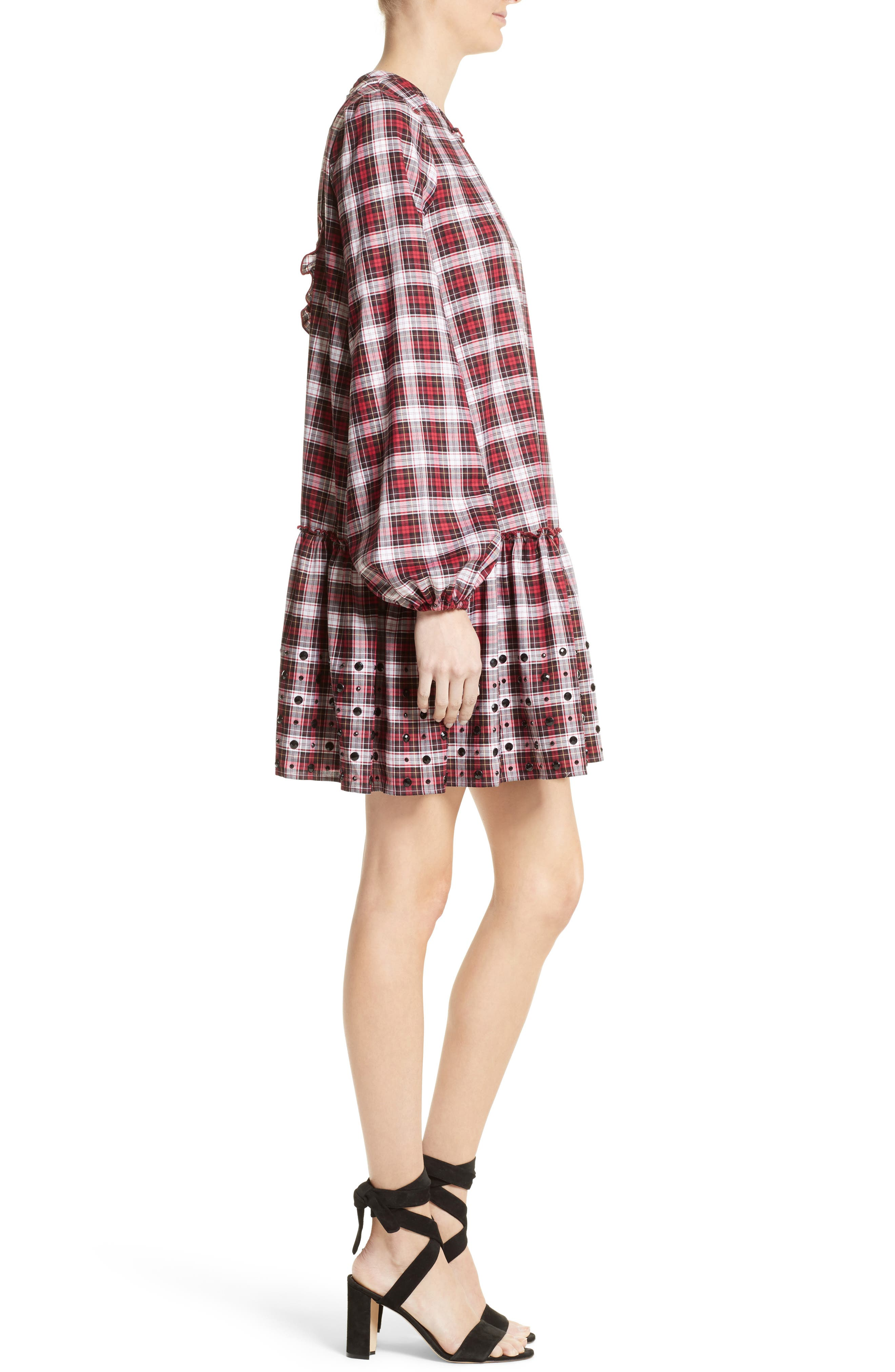 Crystal Embellished Plaid Dress,                             Alternate thumbnail 3, color,                             100
