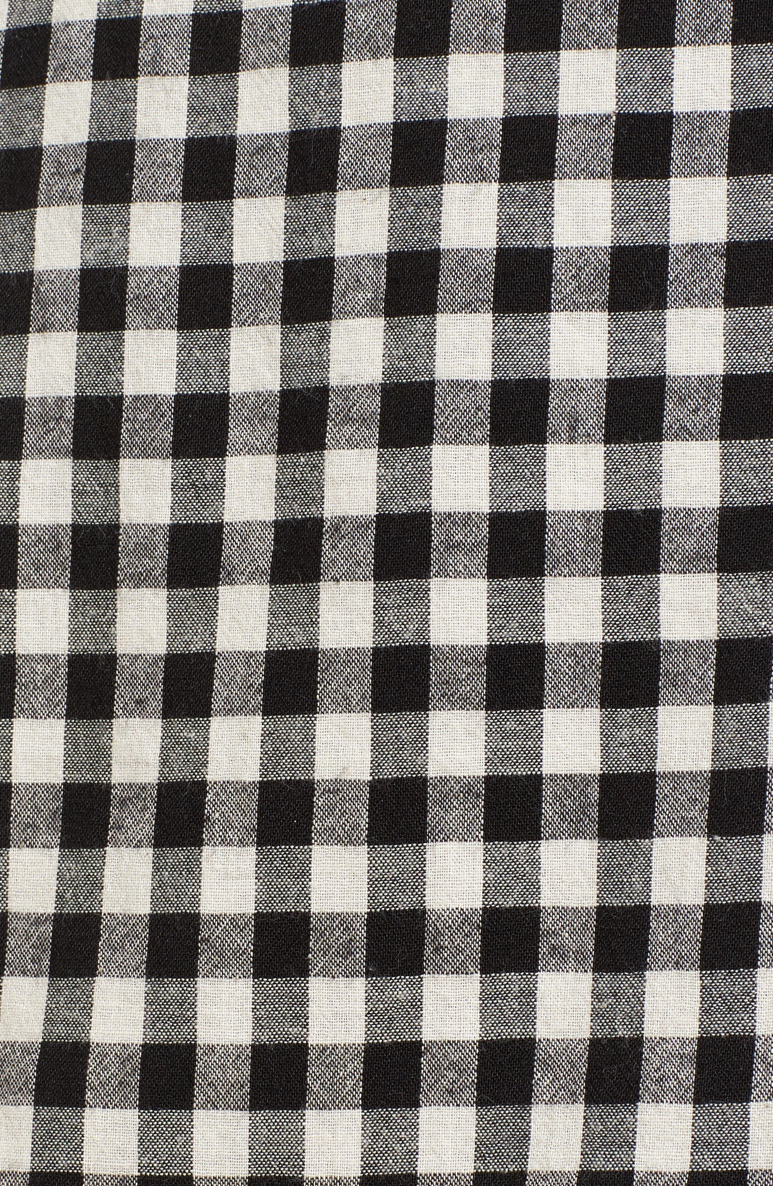 Ruffle Trim Gingham Skirt,                             Alternate thumbnail 5, color,                             001