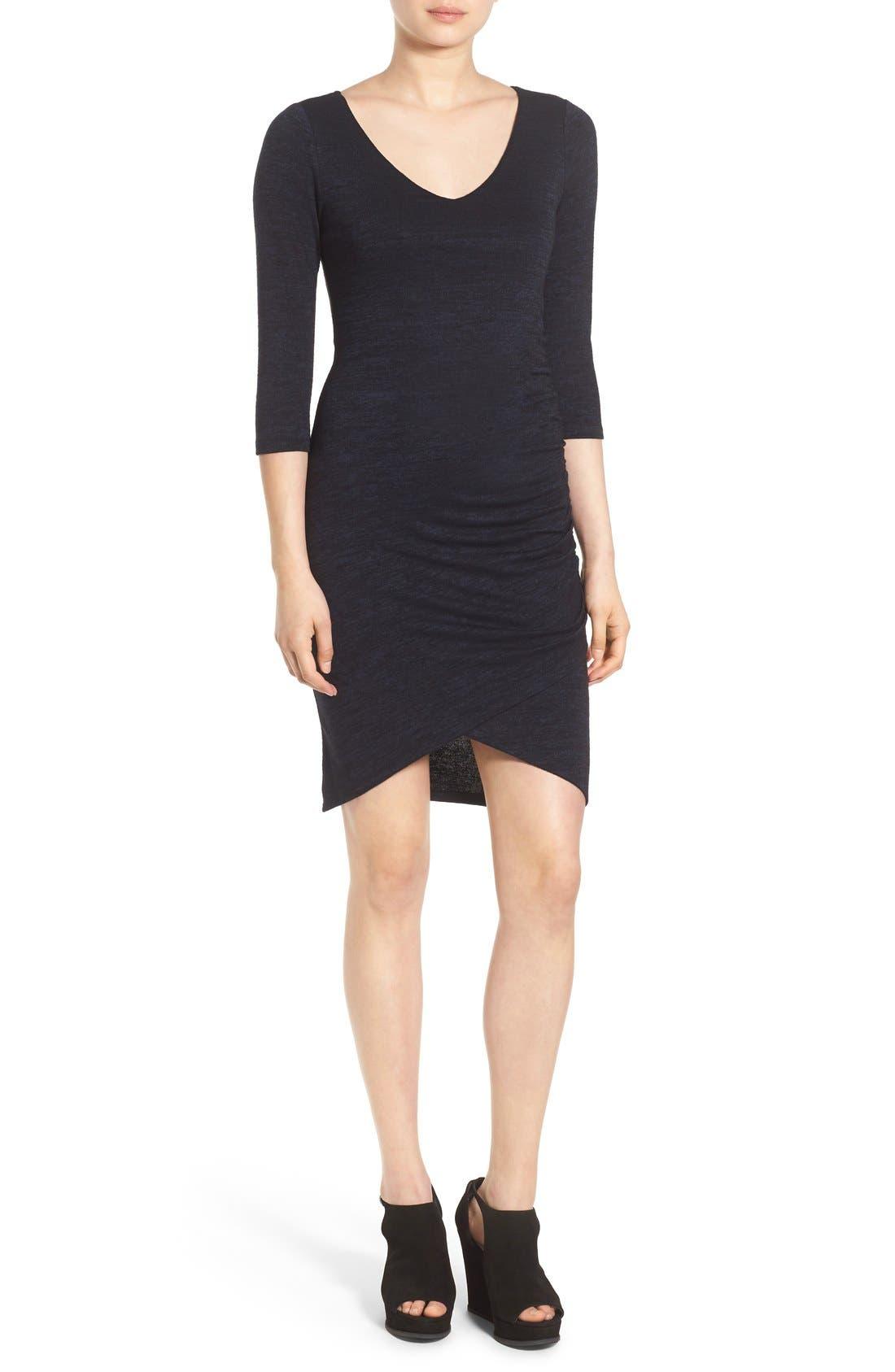 V-Neck Ruched Dress,                             Main thumbnail 2, color,