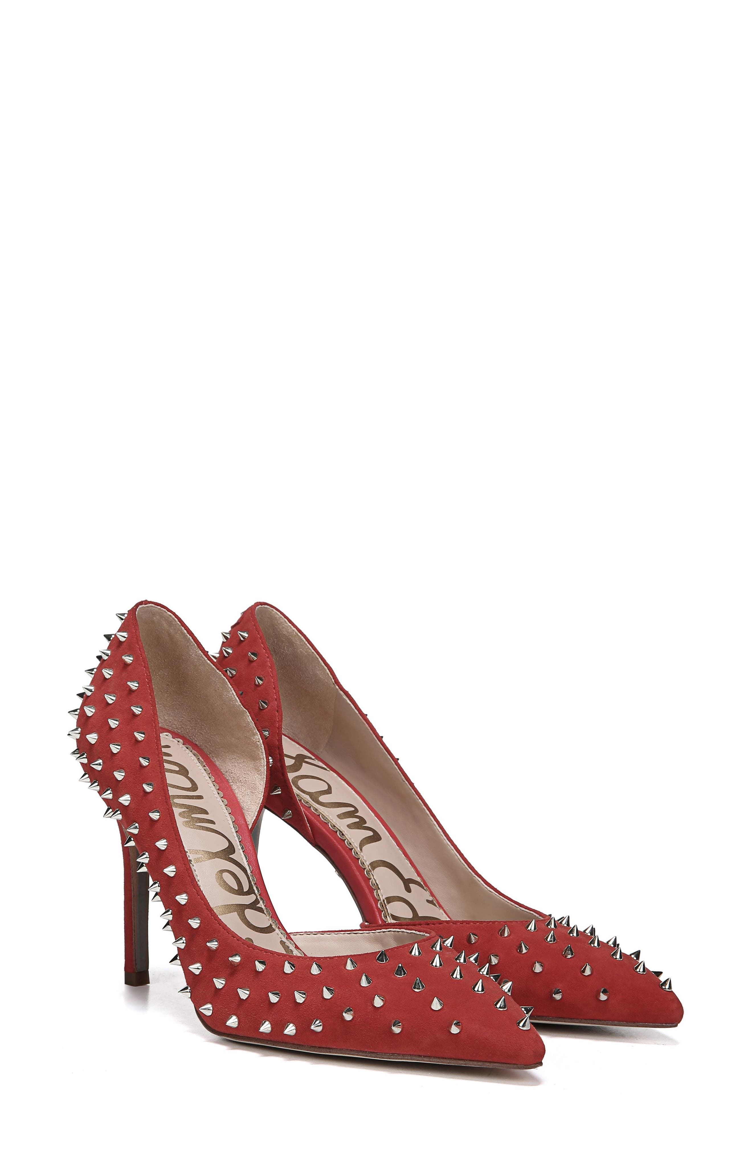 Hadlee d'Orsay Pump,                             Alternate thumbnail 8, color,                             RED SUEDE