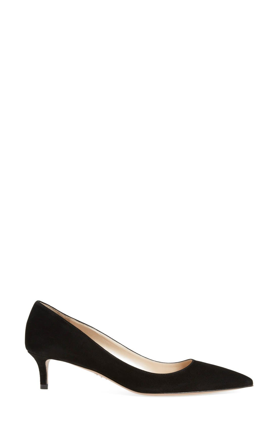 Pointy Toe Pump,                             Alternate thumbnail 4, color,                             BLACK SUEDE