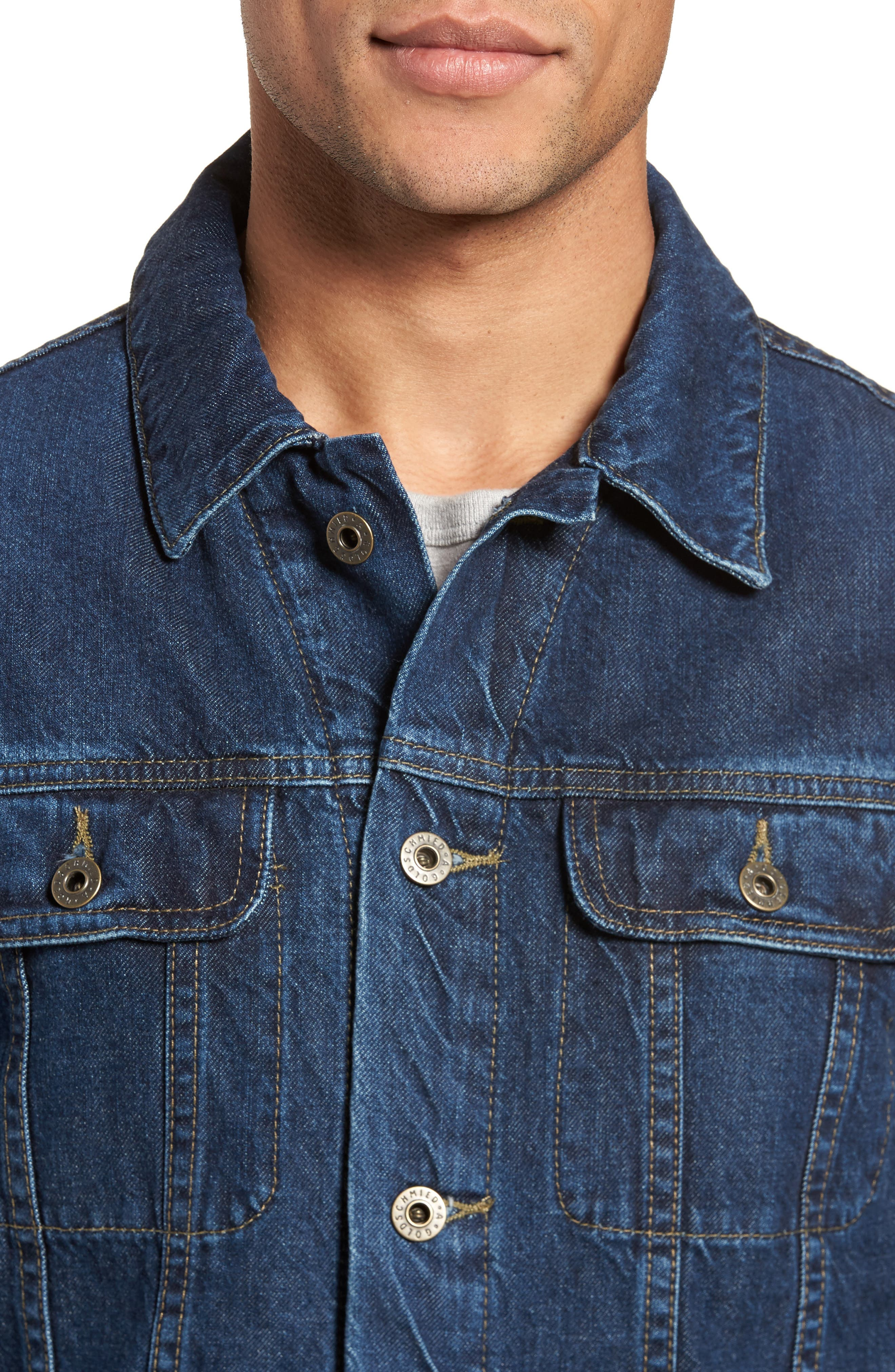 Regular Fit Lined Denim Jacket,                             Alternate thumbnail 4, color,