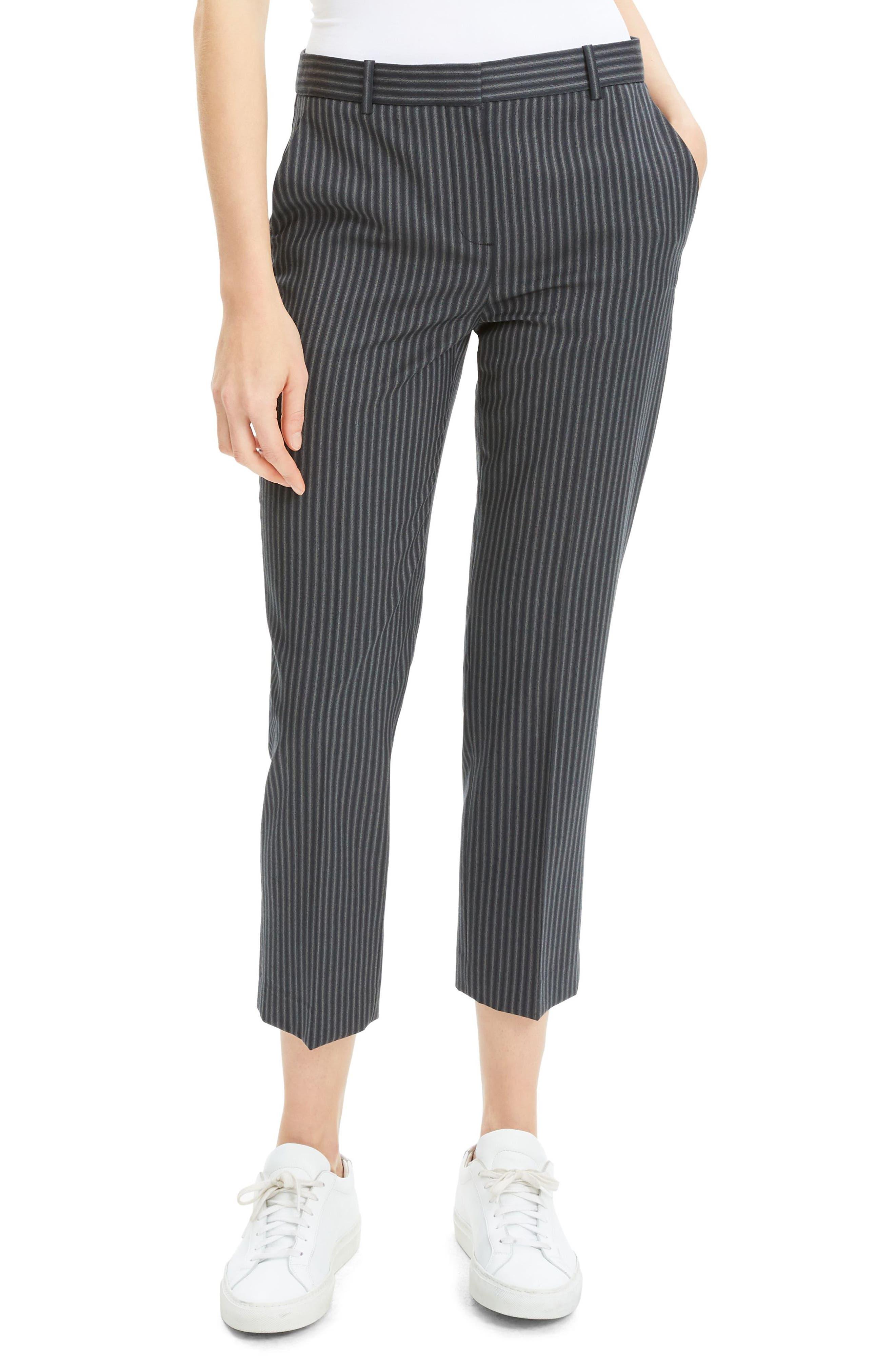 Crop Wool Pants, Main, color, BLACK