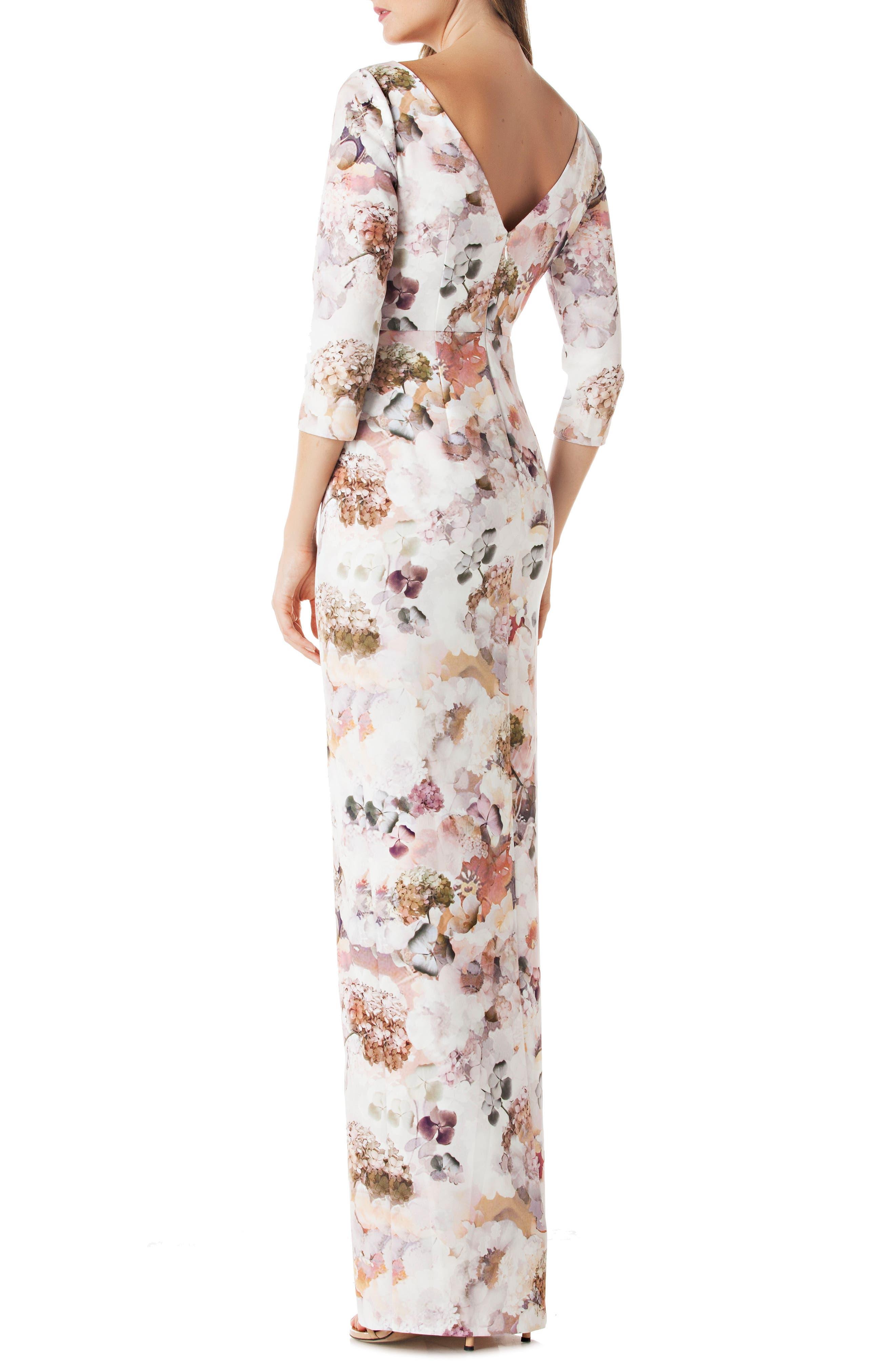 Floral Print Crepe Column Gown,                             Alternate thumbnail 2, color,                             100