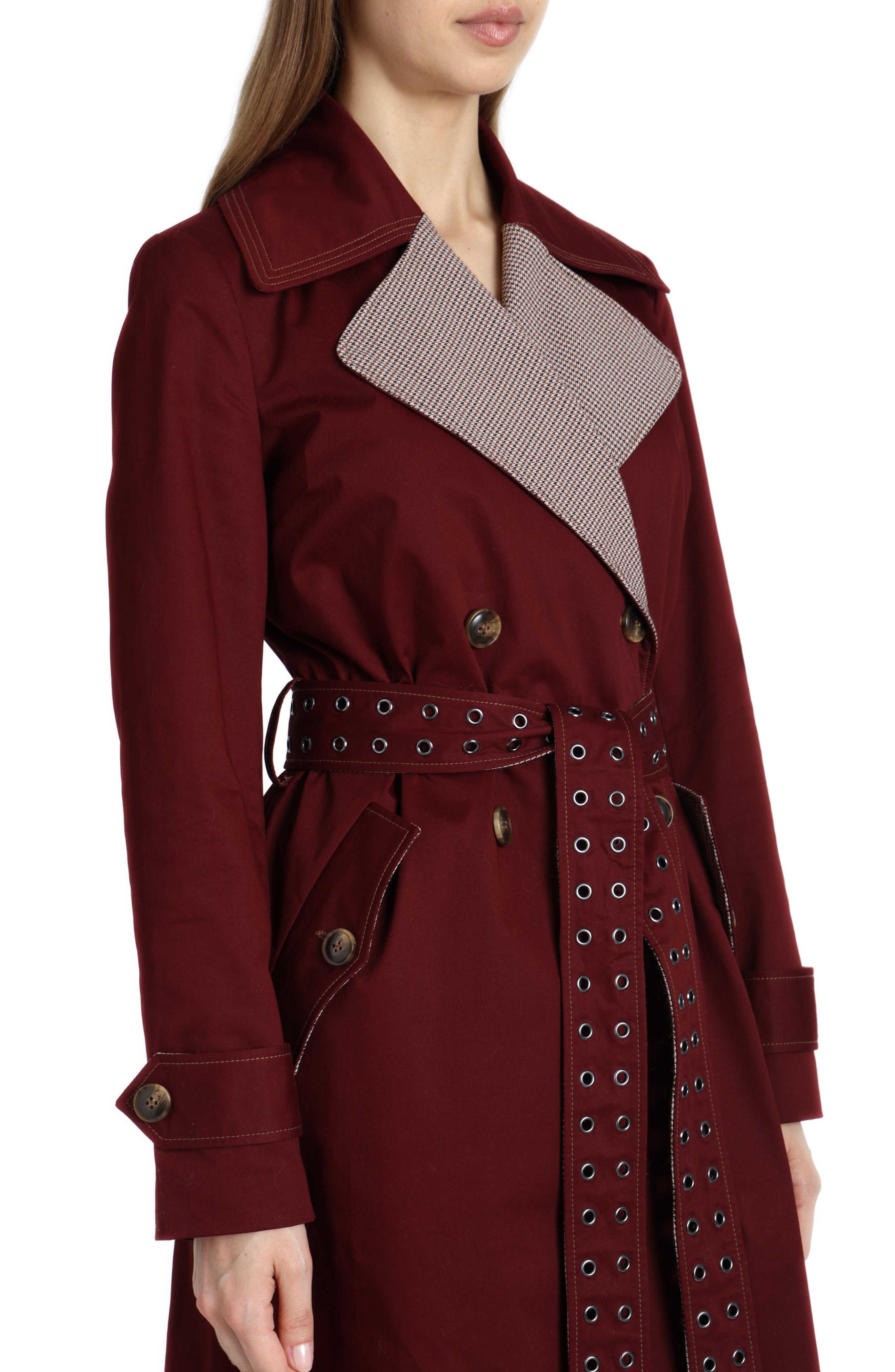 Plaid Lapels Trench Coat,                             Alternate thumbnail 4, color,                             BURGUNDY