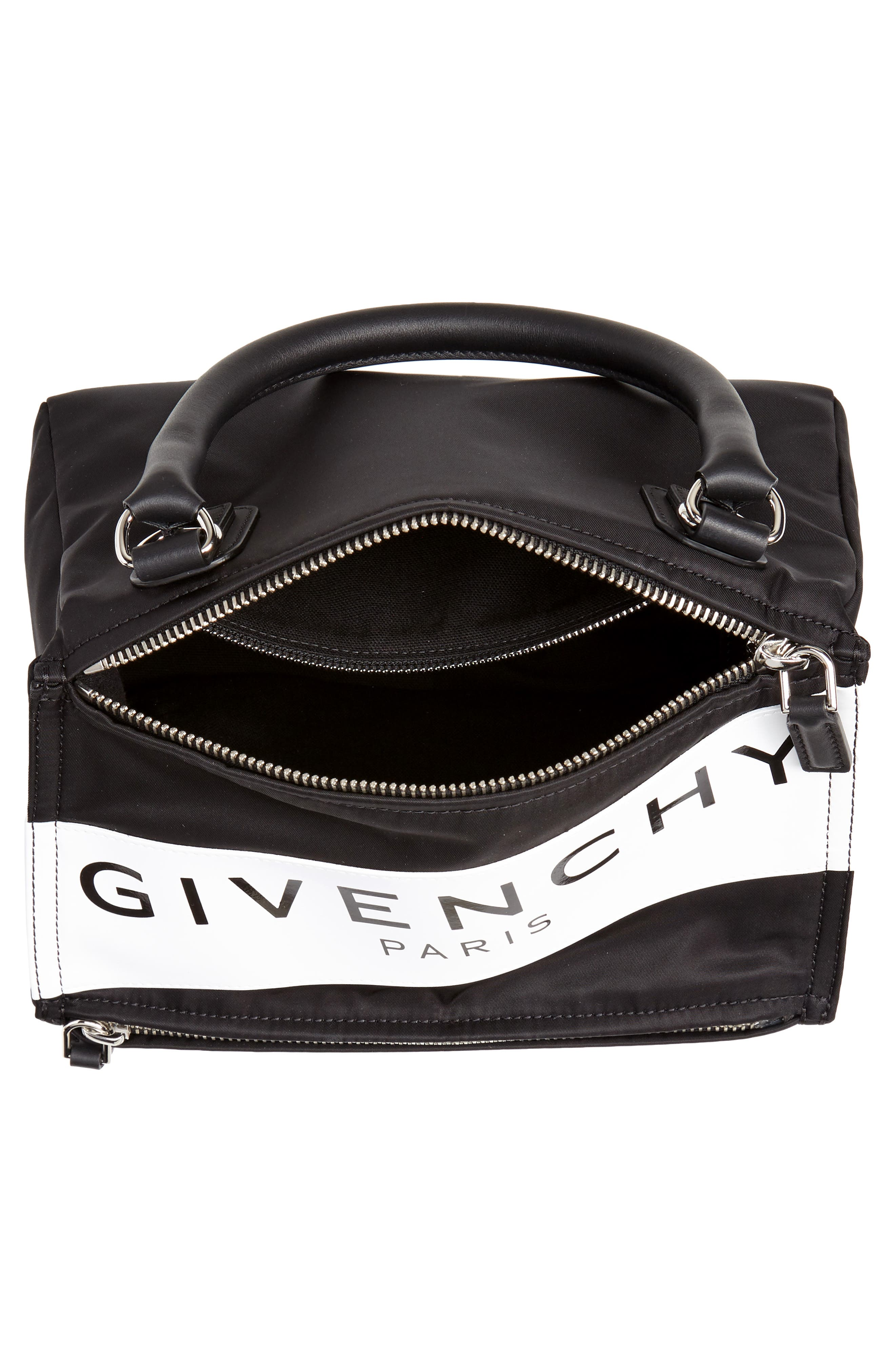 GIVENCHY,                             Small Pandora Logo Shoulder Bag,                             Alternate thumbnail 4, color,                             BLACK