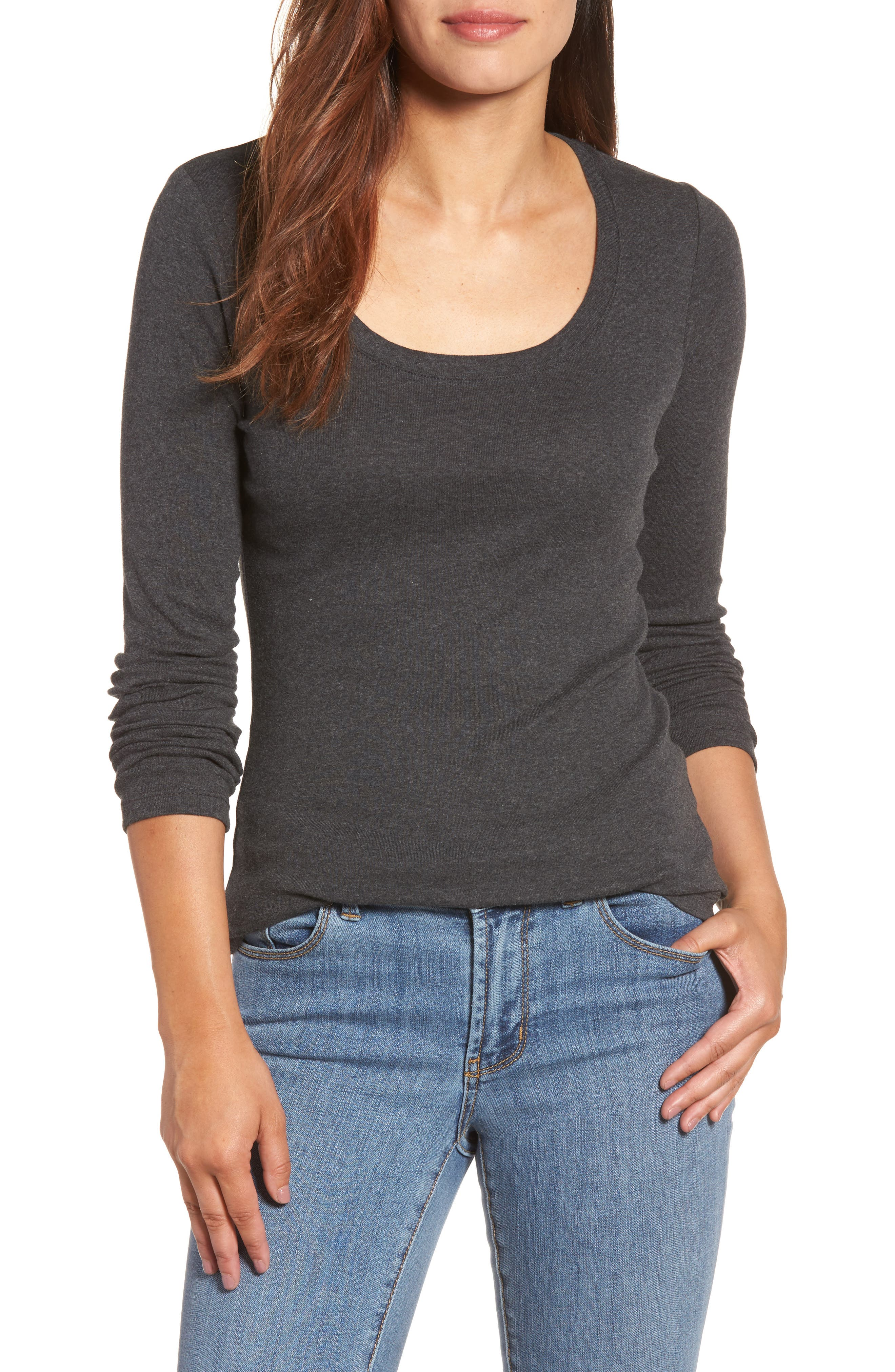 CASLON<SUP>®</SUP> 'Melody' Long Sleeve Scoop Neck Tee, Main, color, HEATHER CHARCOAL