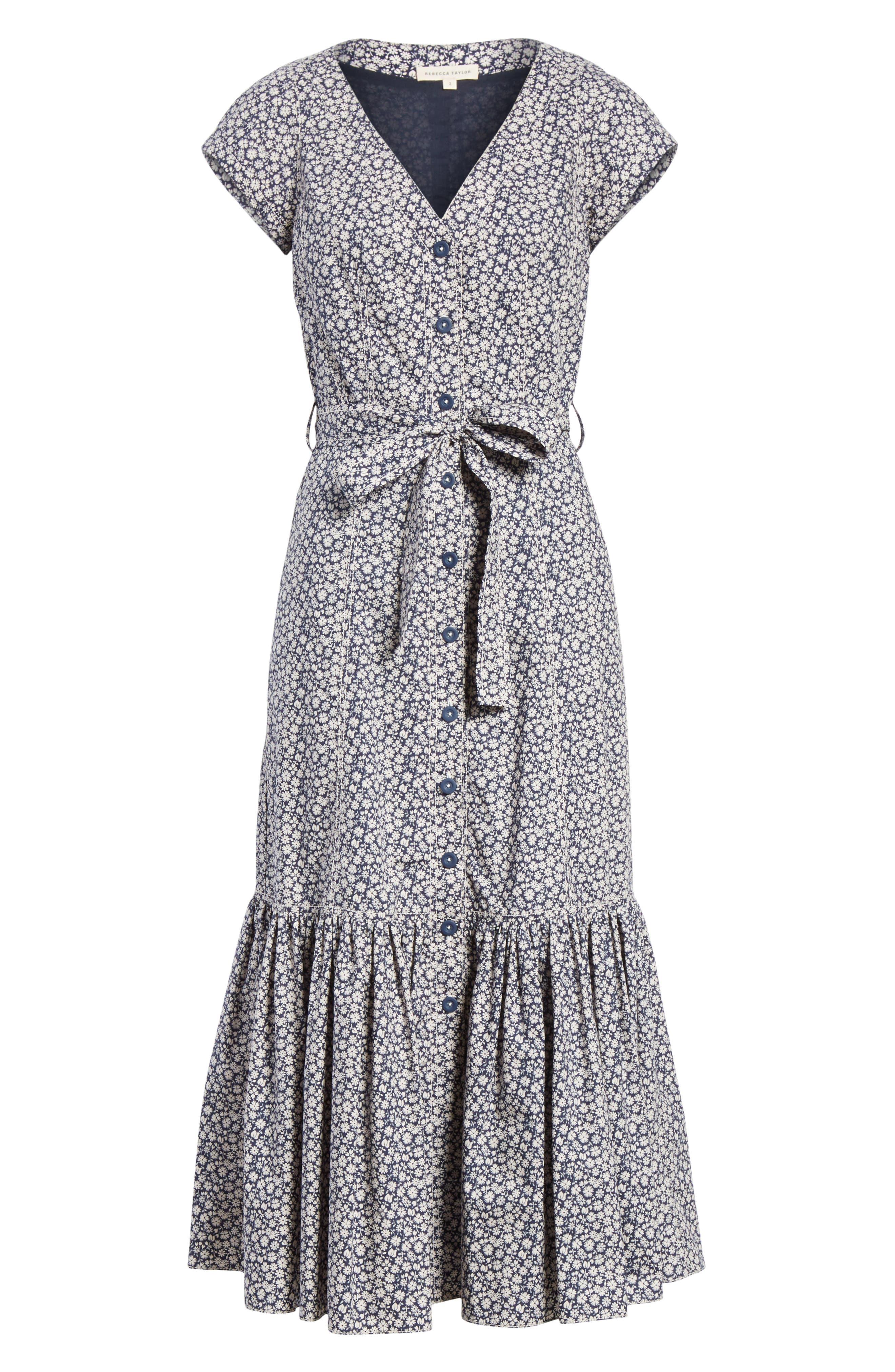 Lauren Tie Front Floral Cotton Dress,                             Alternate thumbnail 6, color,                             450