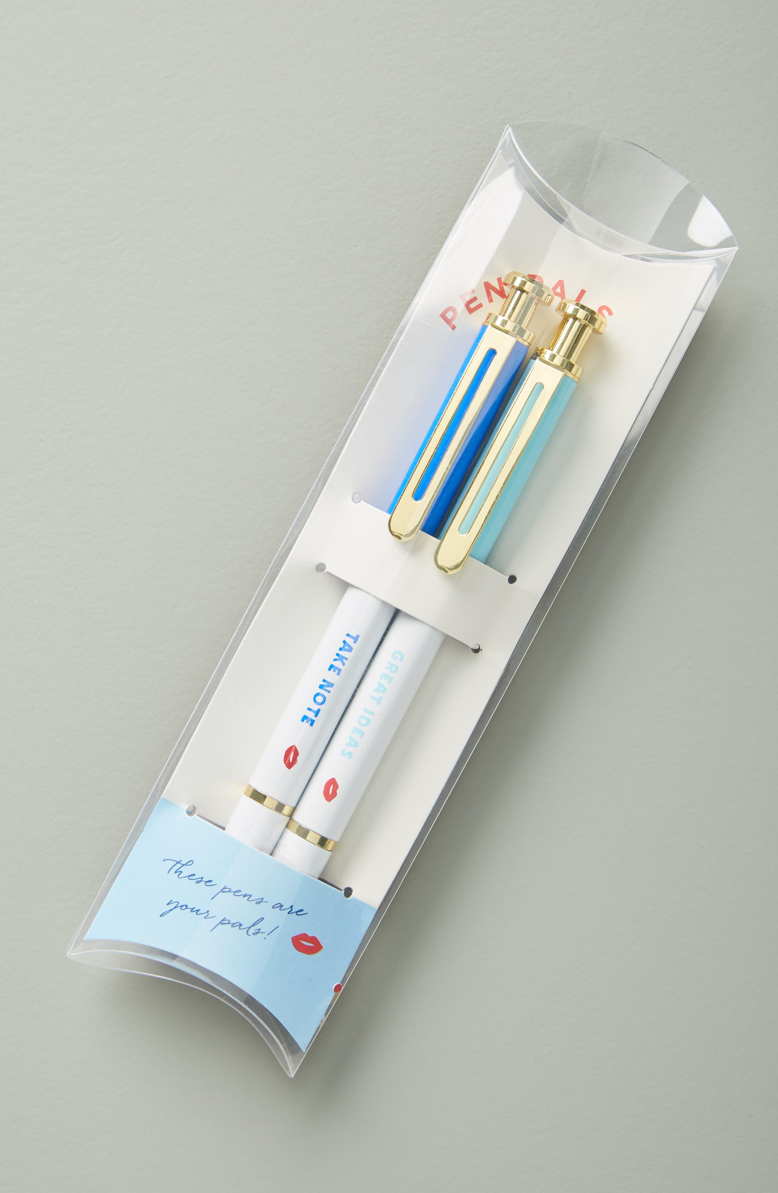ANTHROPOLOGIE Bisou Set of 2 Pens, Main, color, RED