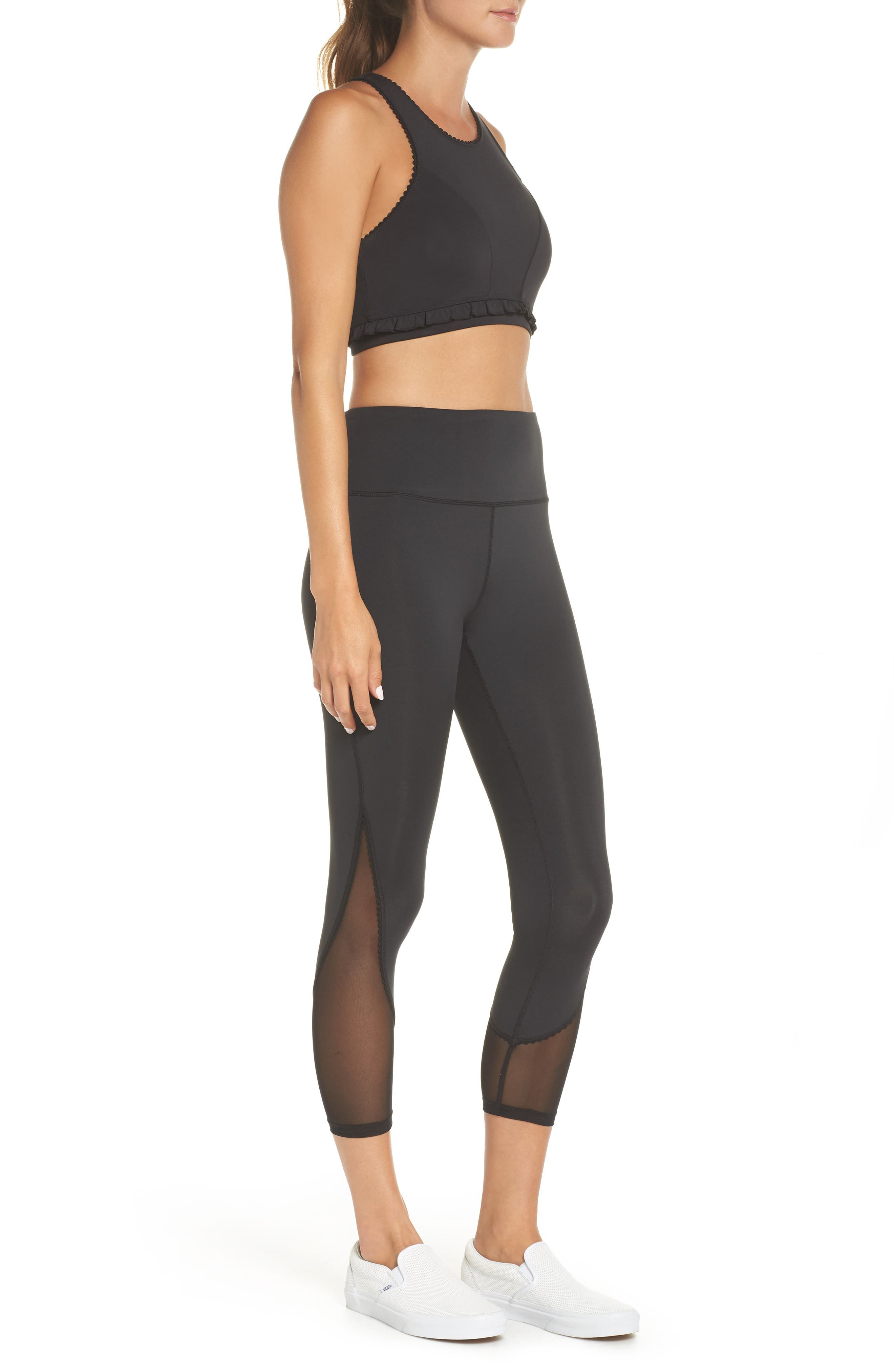 micro mesh leggings,                             Alternate thumbnail 9, color,                             BLACK
