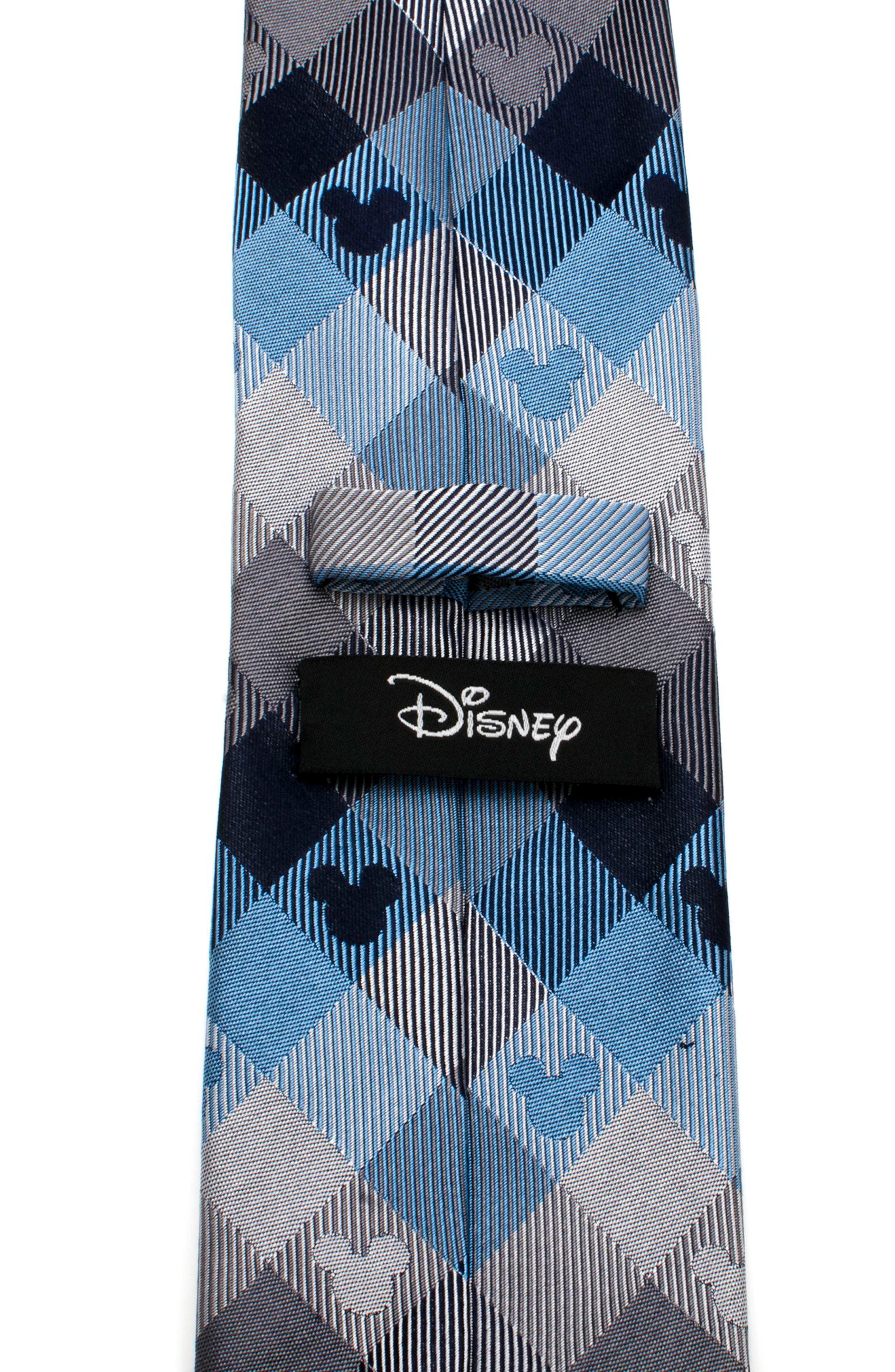 Mickey Mouse Plaid Silk Tie,                             Alternate thumbnail 4, color,                             BLUE/ GREY