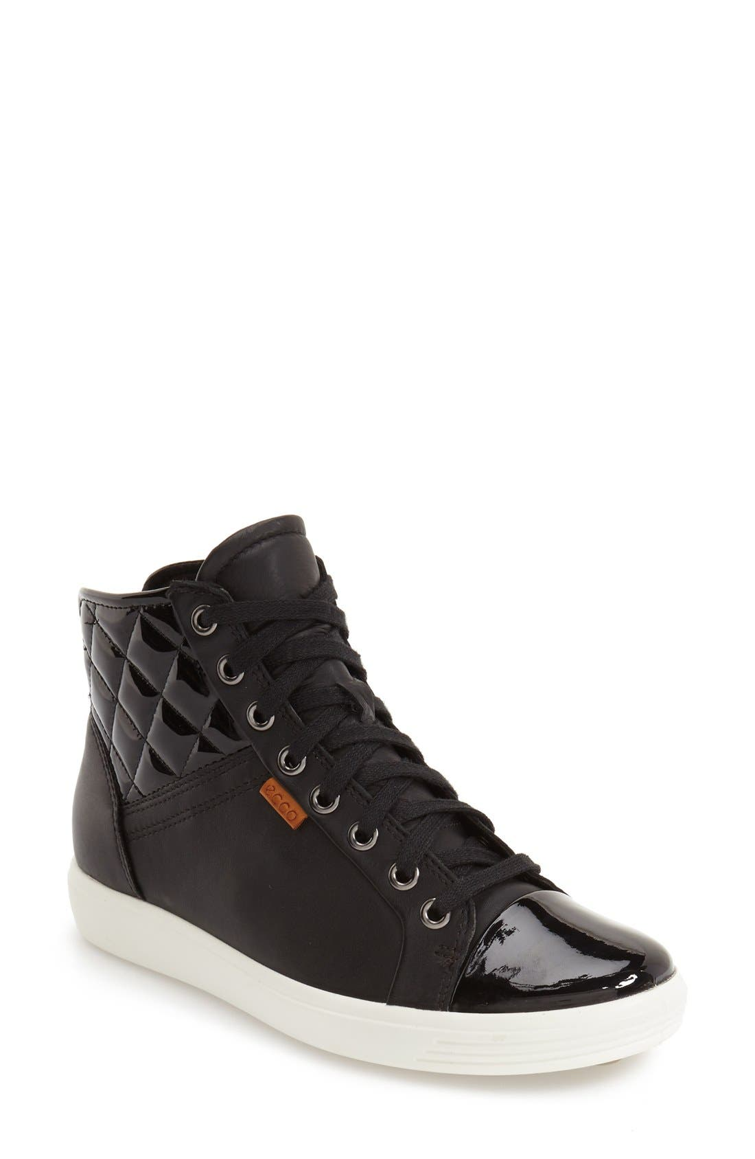 'Soft 7' Quilted High Top Sneaker,                             Main thumbnail 1, color,                             009