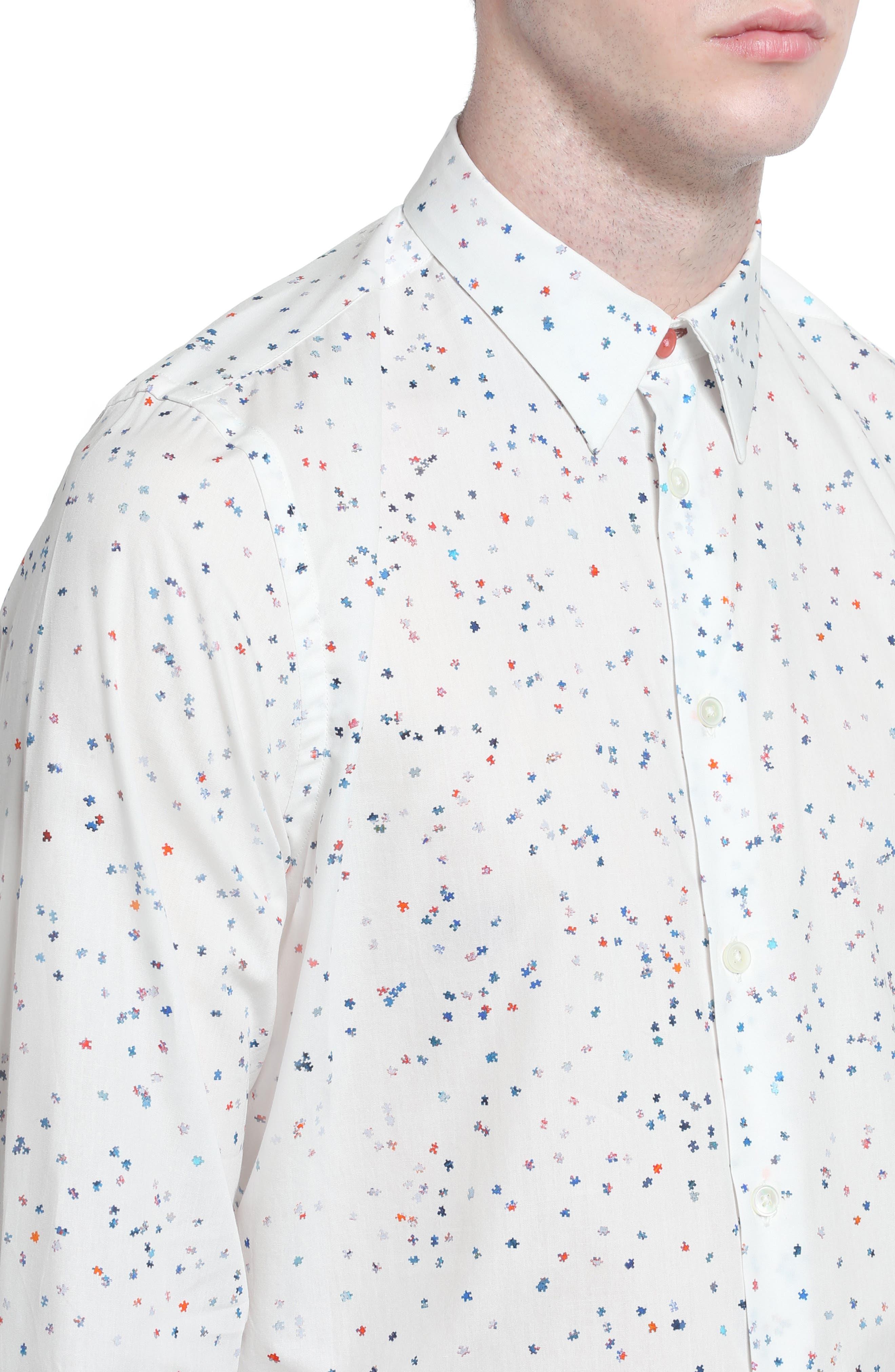 Puzzle Print Shirt,                             Alternate thumbnail 4, color,                             100