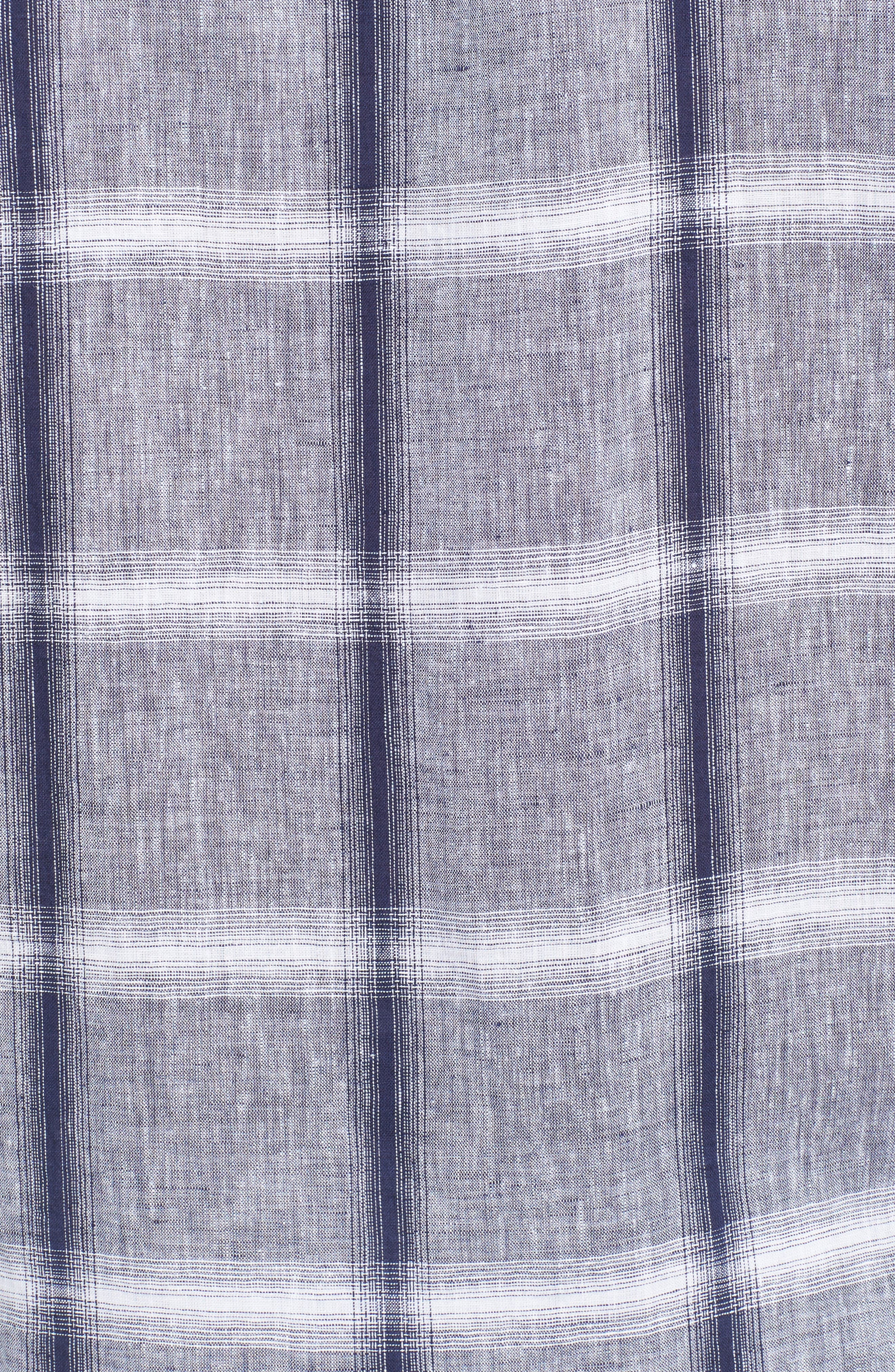 Shaped Fit Check Linen & Cotton Sport Shirt,                             Alternate thumbnail 5, color,                             NAVY