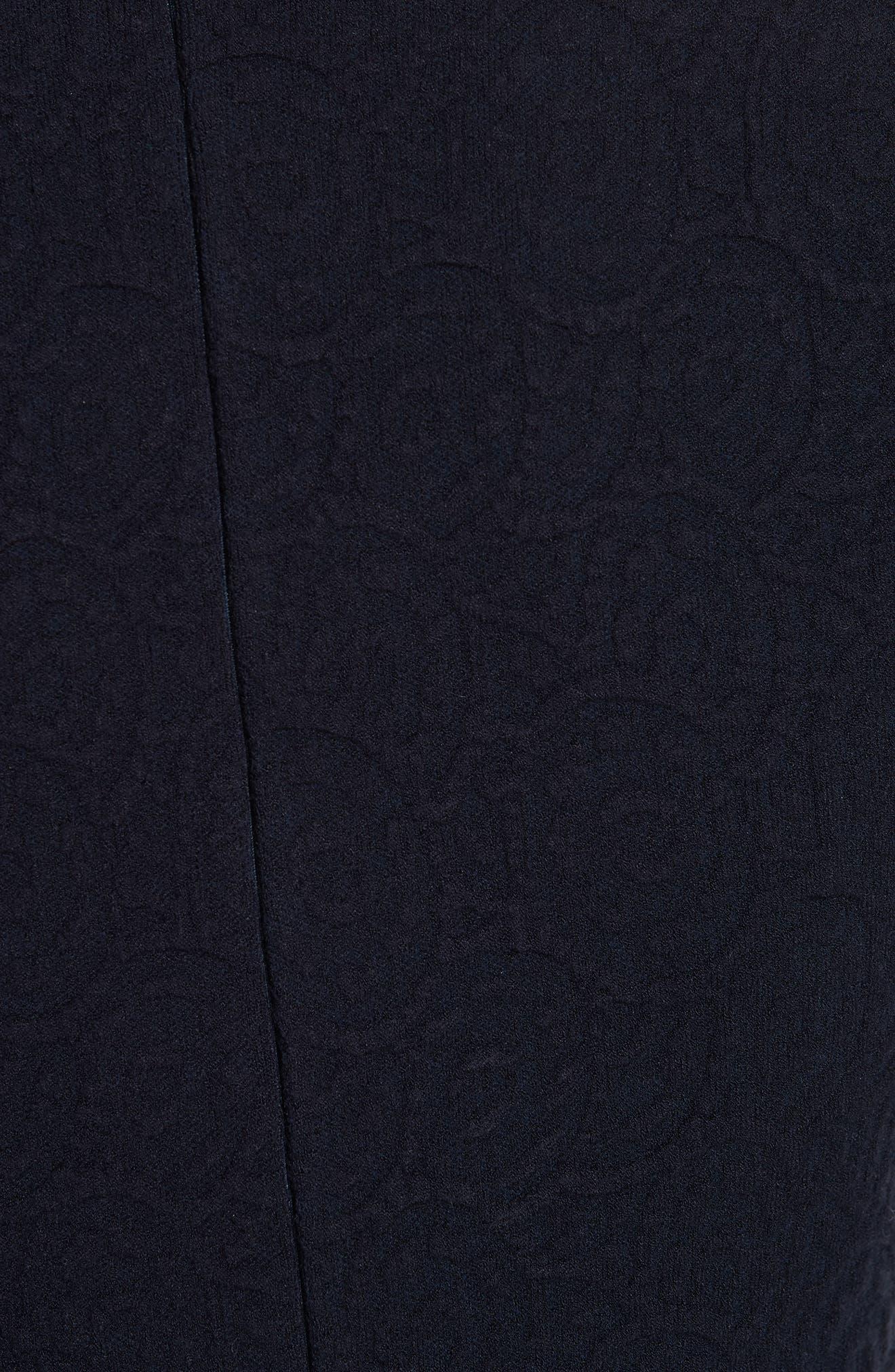 Textured Jacquard Knit Fit & Flare Dress,                             Alternate thumbnail 6, color,                             NAVY