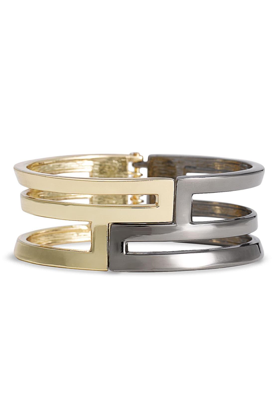 CARA,                             Accessories Cutout Hinged Bracelet,                             Main thumbnail 1, color,                             001