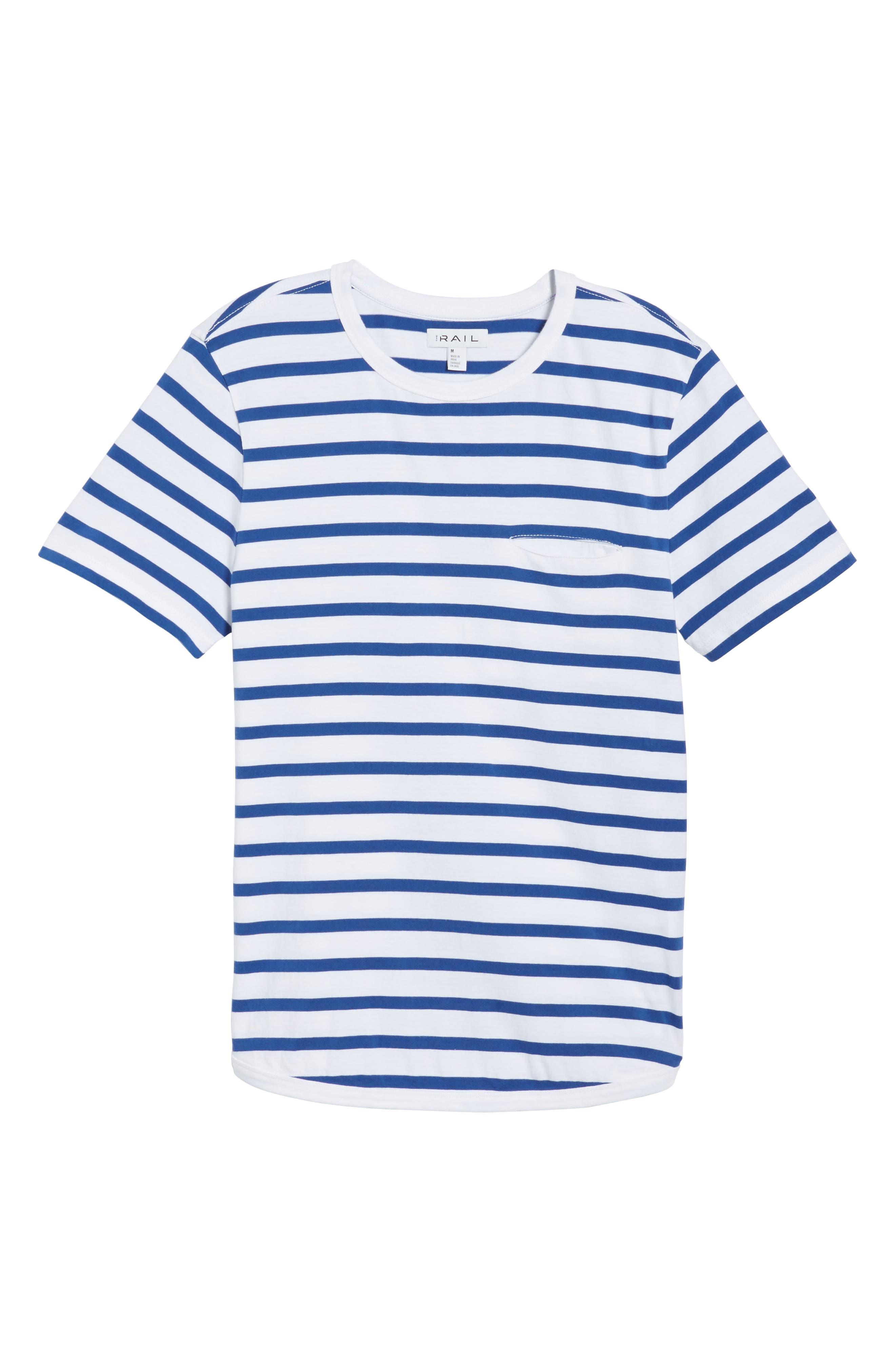 Striped Crewneck T-Shirt,                             Alternate thumbnail 6, color,                             420