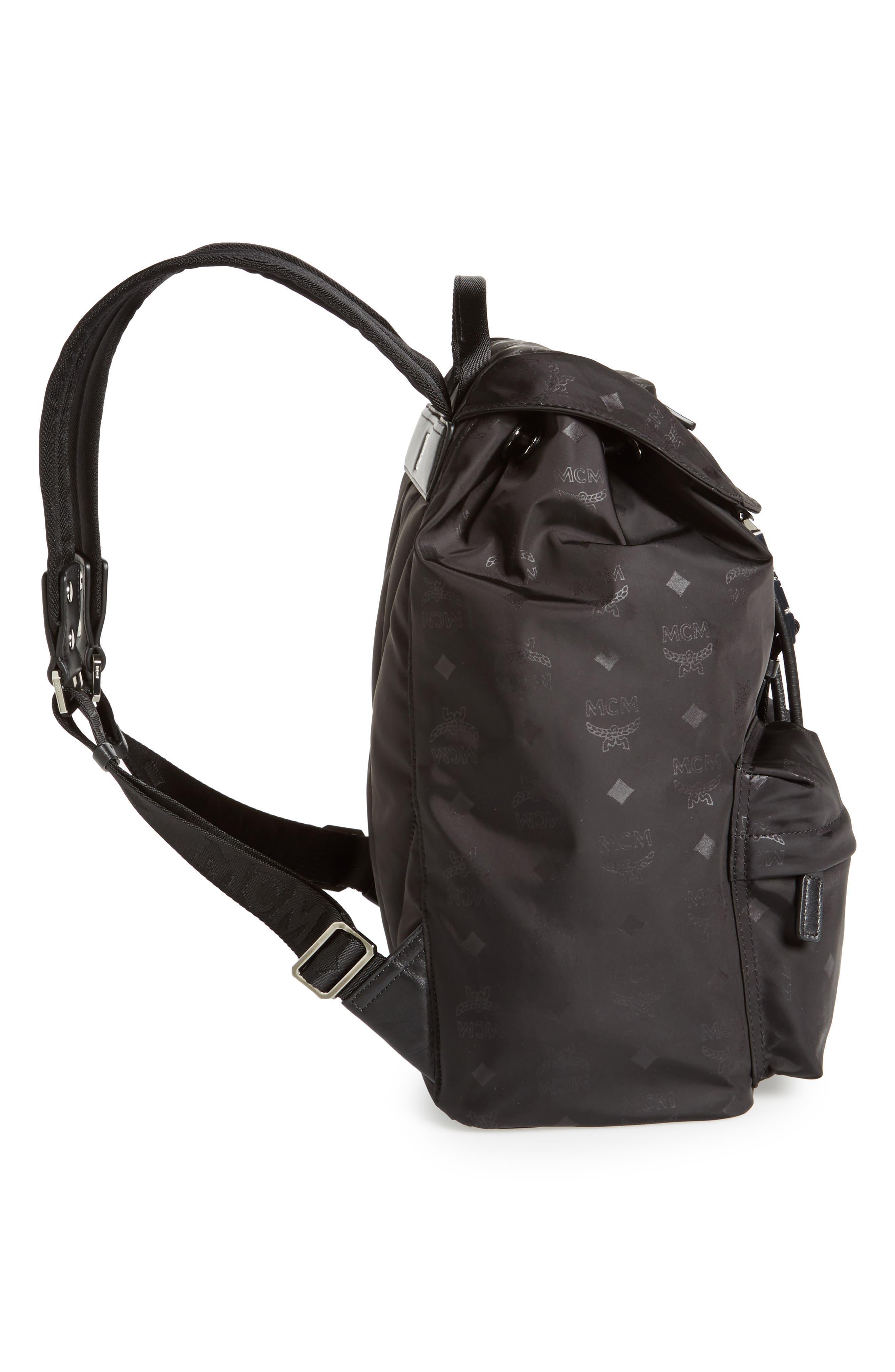 Small Dieter Monogrammed Nylon Backpack,                             Alternate thumbnail 4, color,                             BLACK