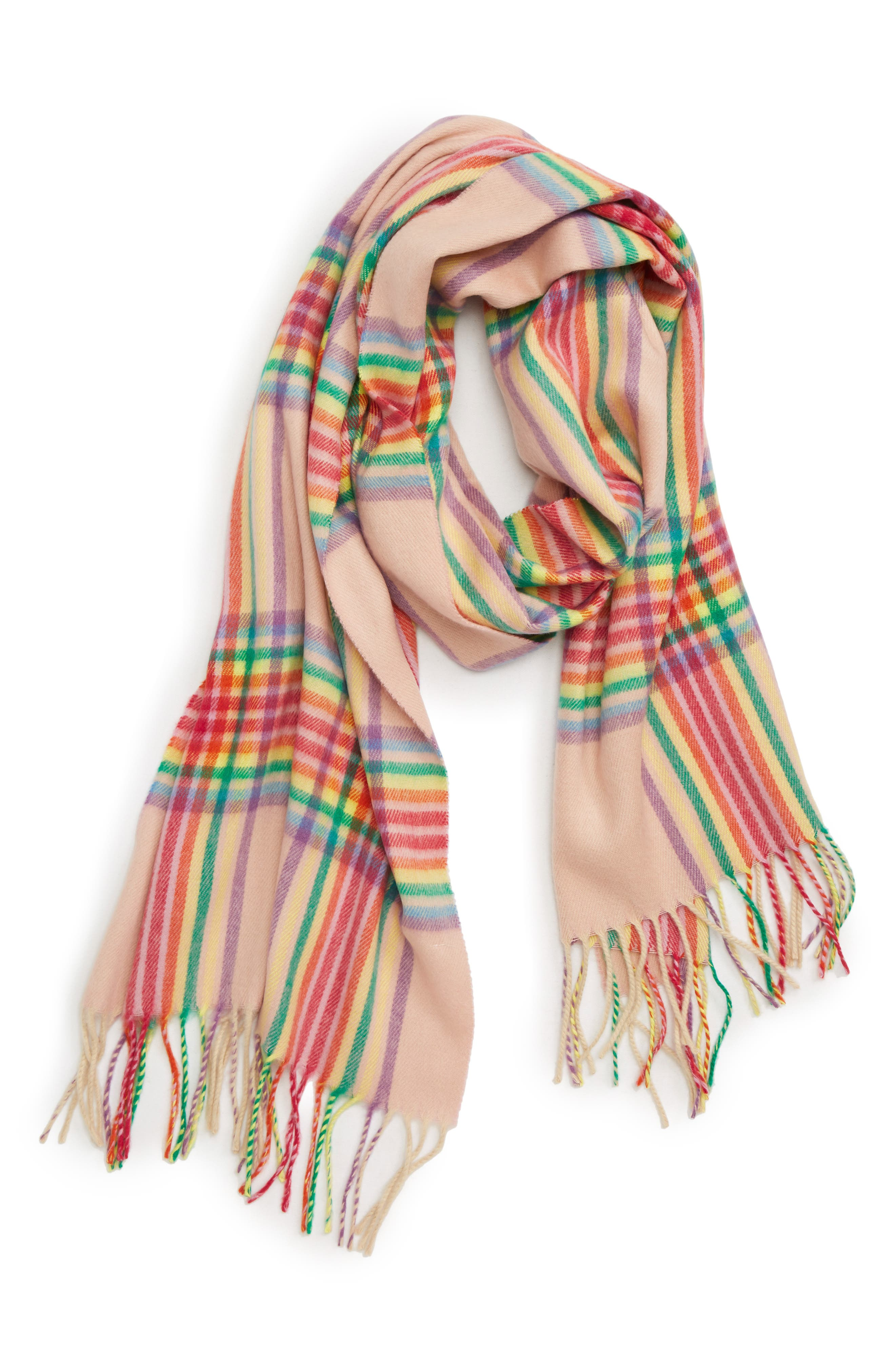 Check Scarf,                         Main,                         color, PINK MULTI