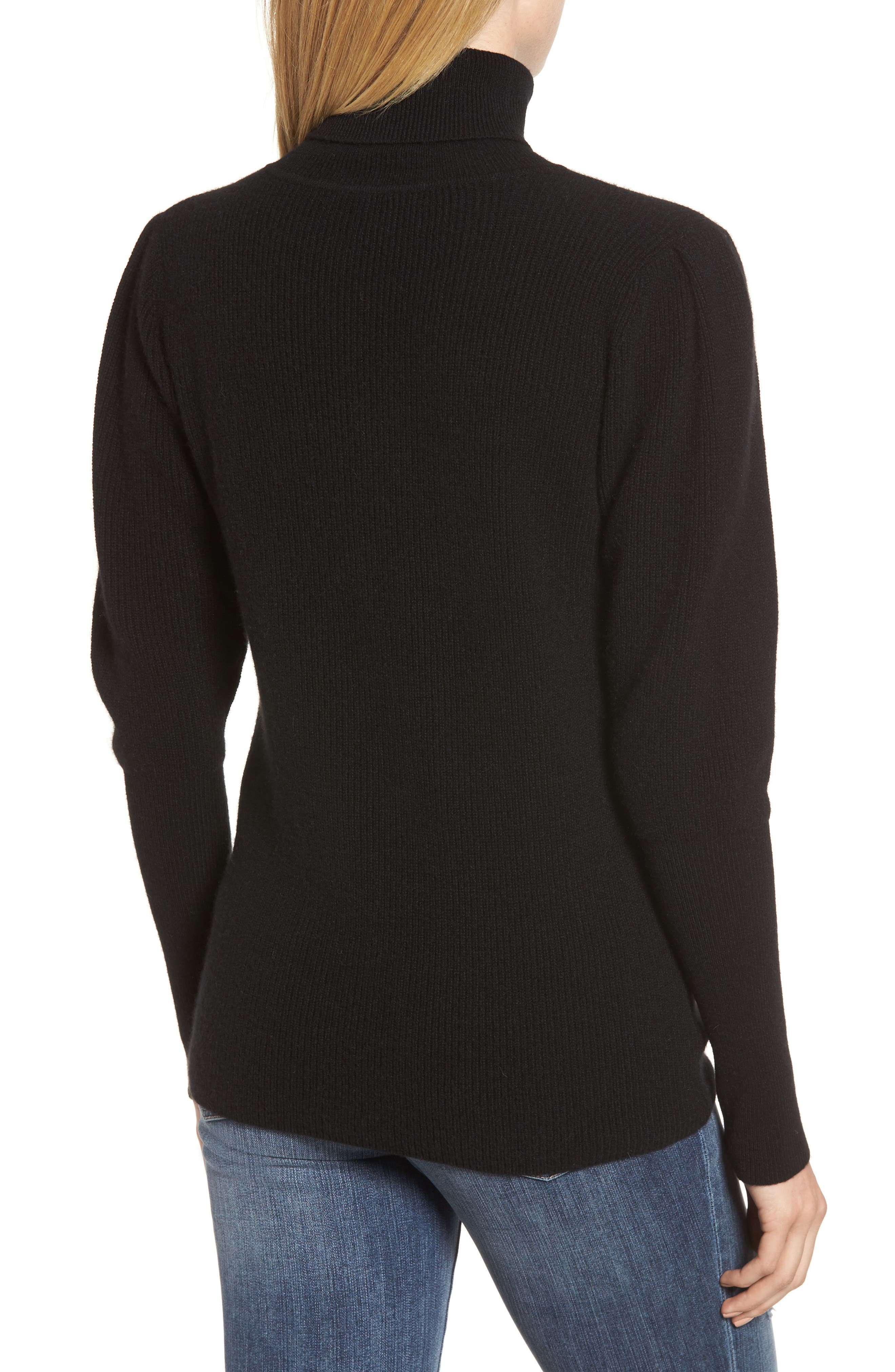 Cashmere Puff Sleeve Turtleneck,                             Alternate thumbnail 2, color,                             BLACK