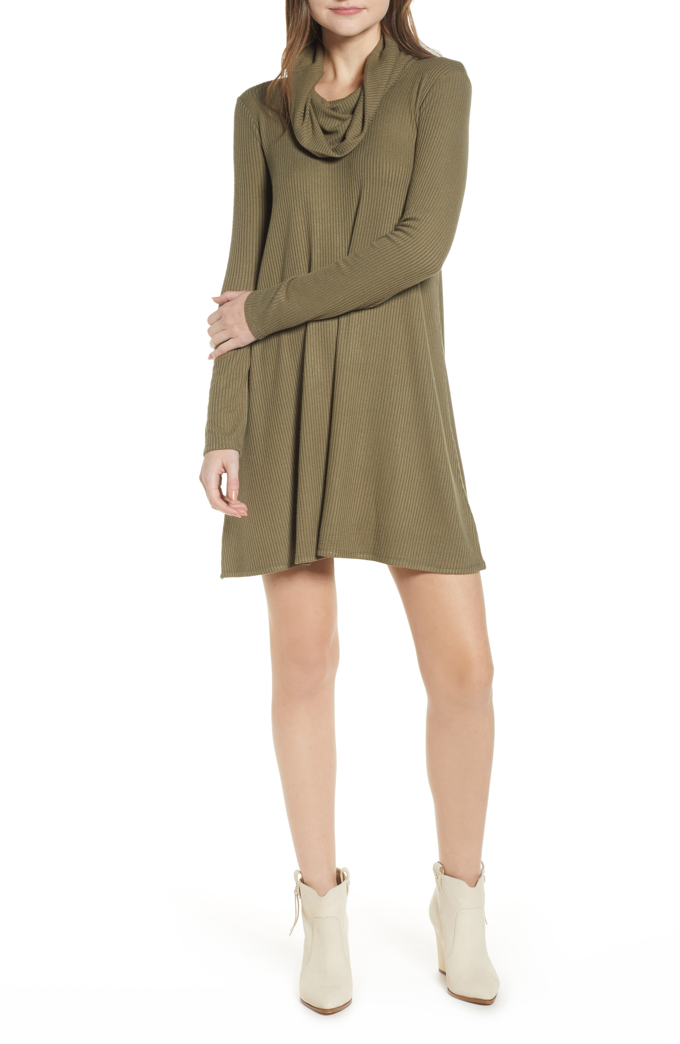 Socialite Maddie Cowl Neck Swing Dress, Green