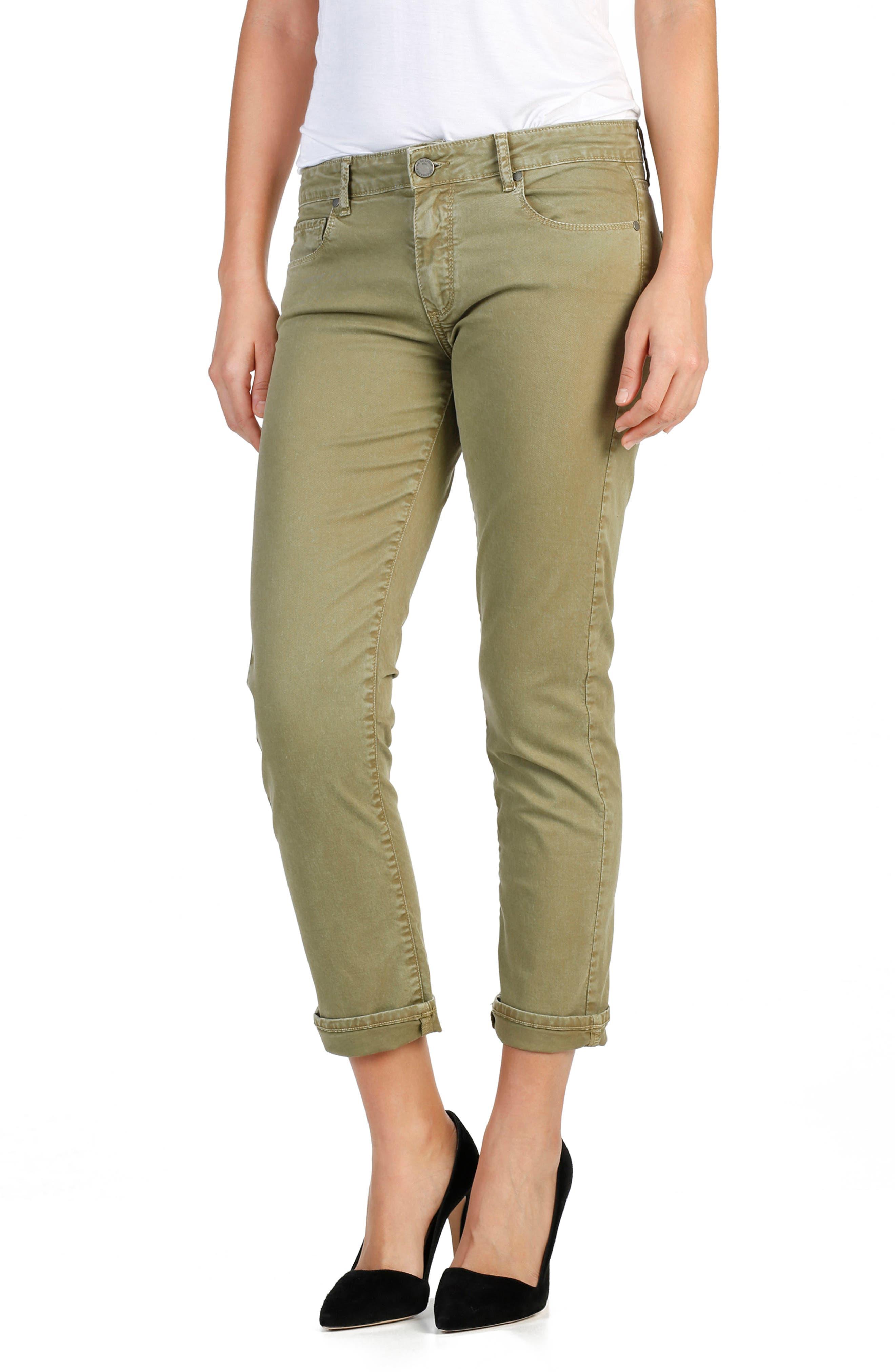 Brigitte Crop Boyfriend Jeans,                             Main thumbnail 1, color,                             SAHARA GREEN
