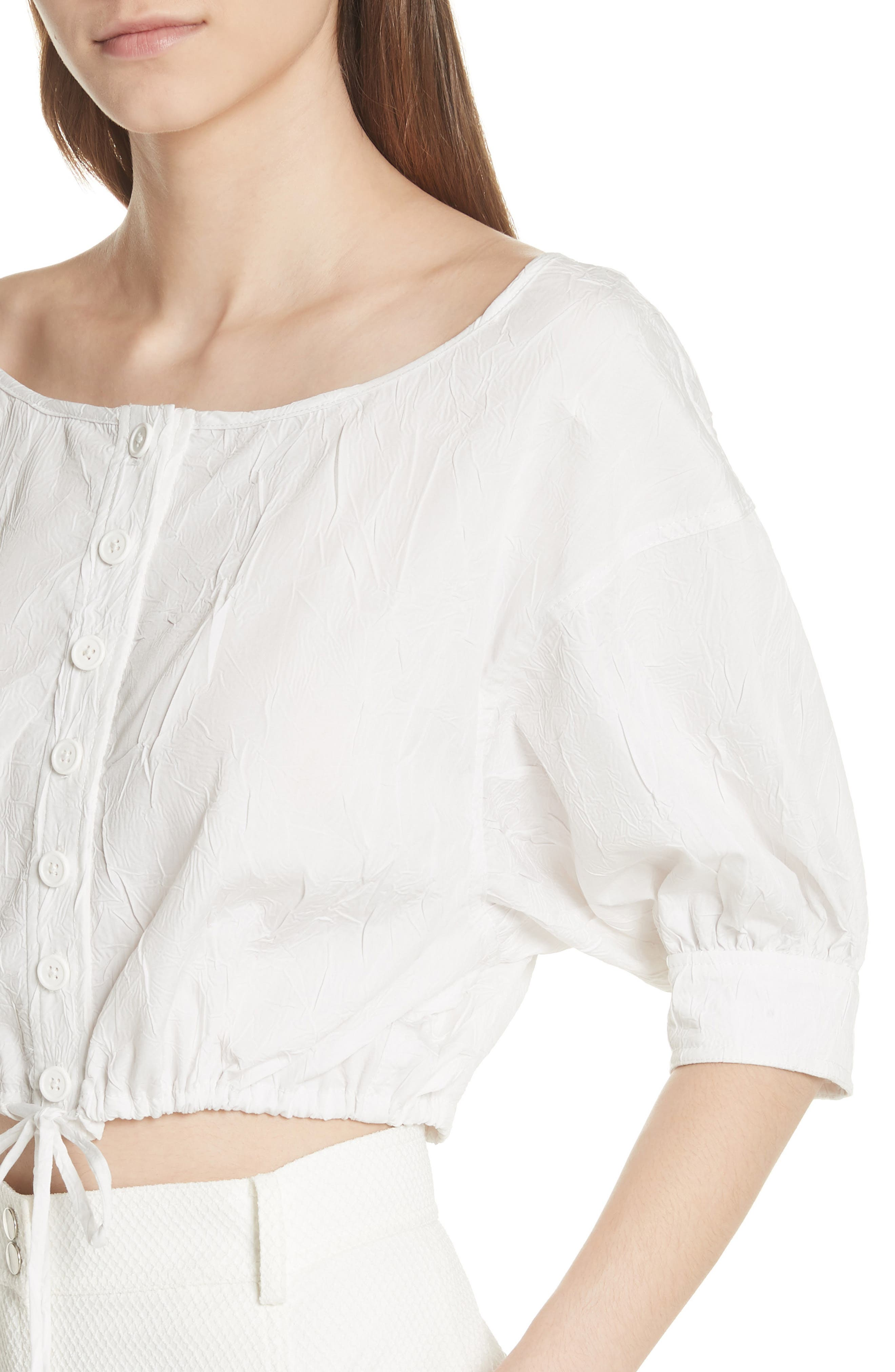 Crinkled Crop Top,                             Alternate thumbnail 4, color,