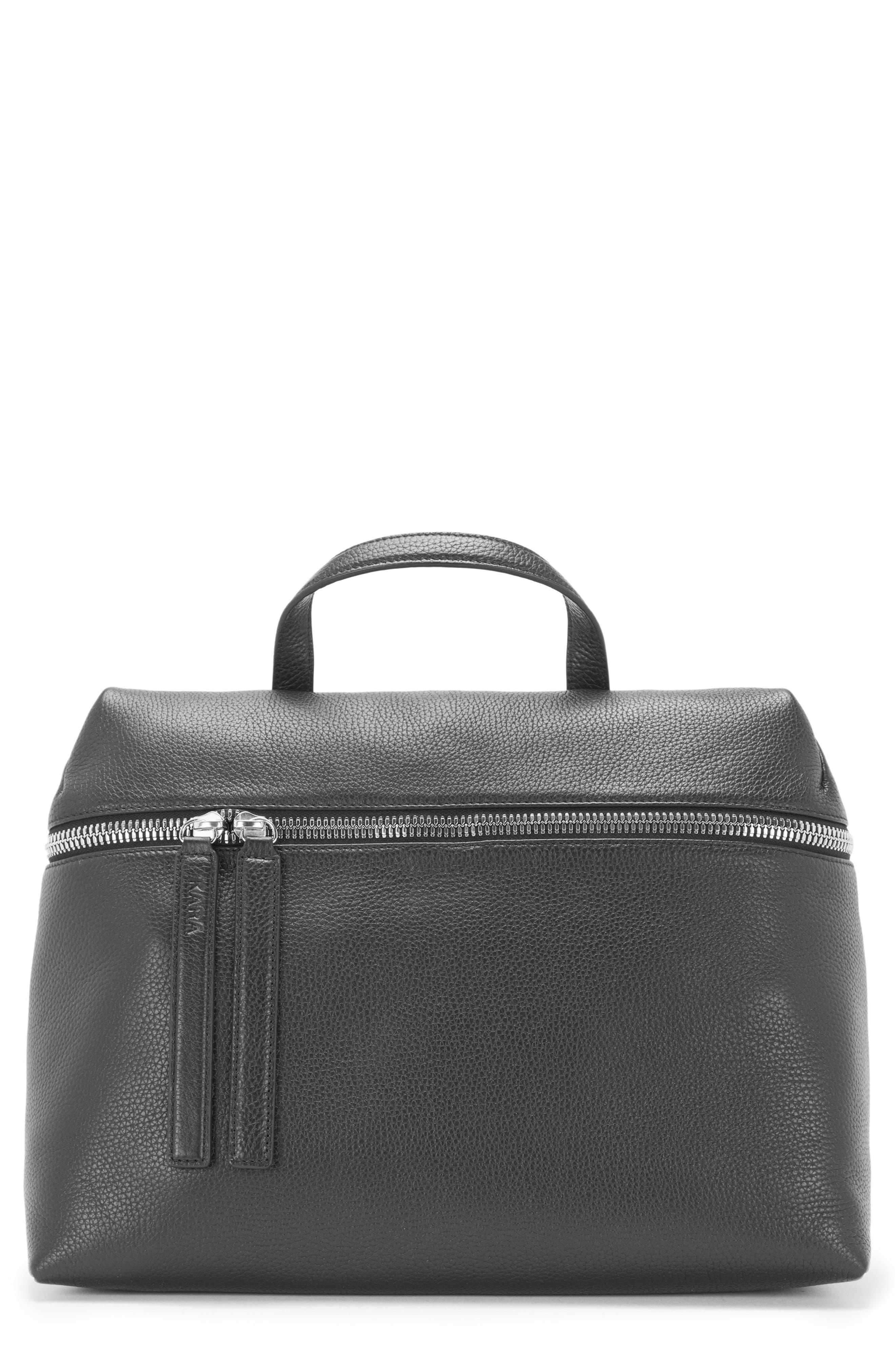 Pebbled Leather Satchel, Main, color, 001