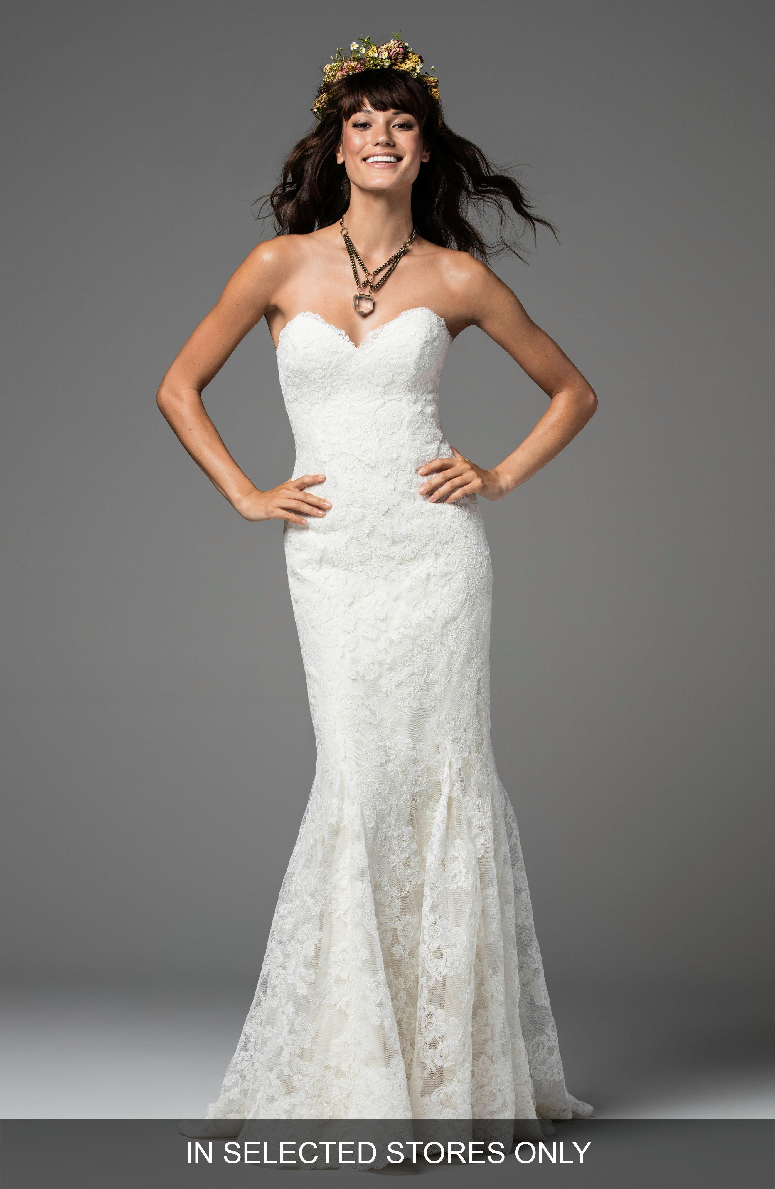 Liesel Strapless Lace Mermaid Gown,                             Main thumbnail 1, color,                             IVORY