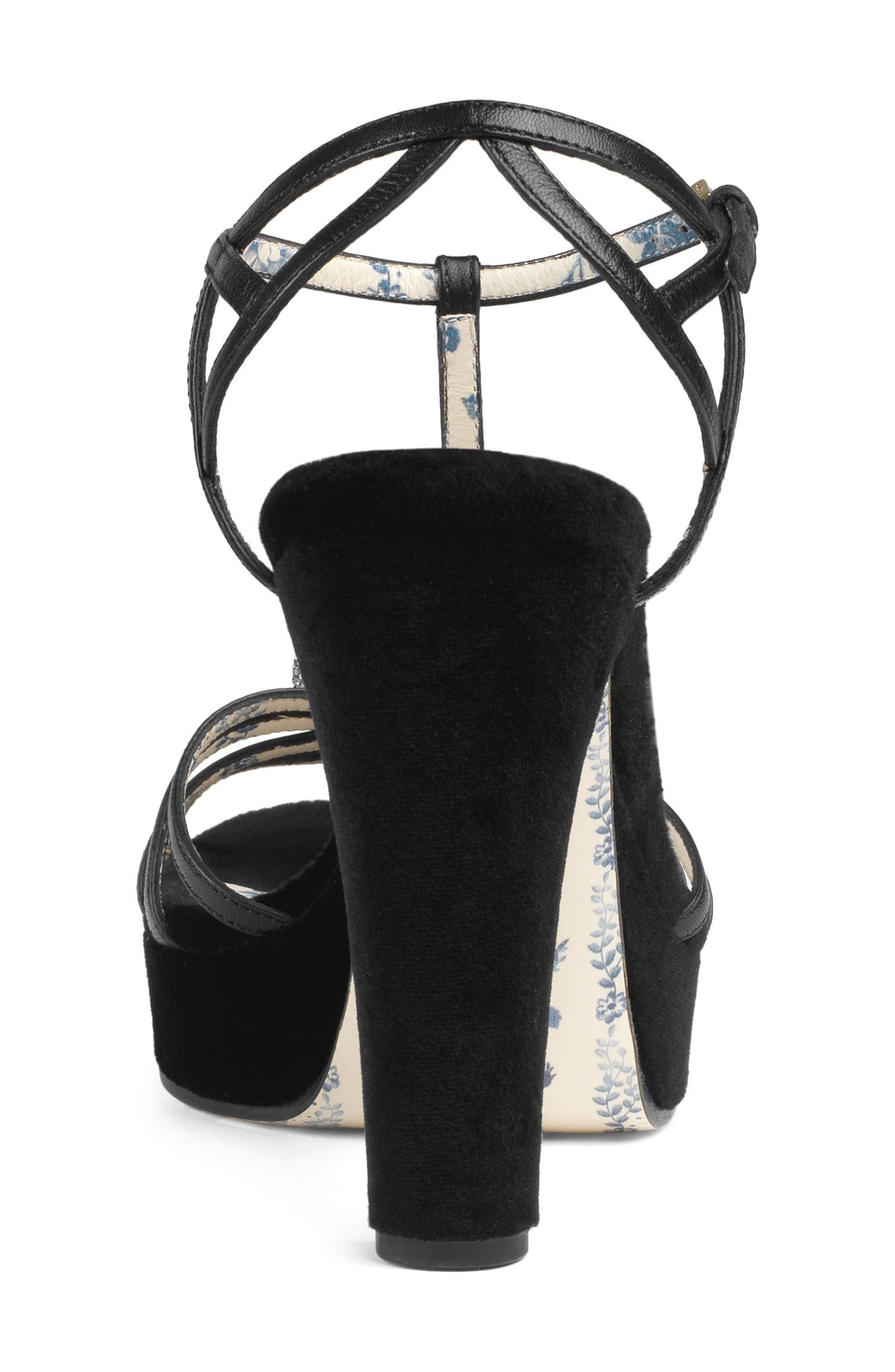 Crystal Tiger T-Strap Sandal,                             Alternate thumbnail 2, color,                             BLACK