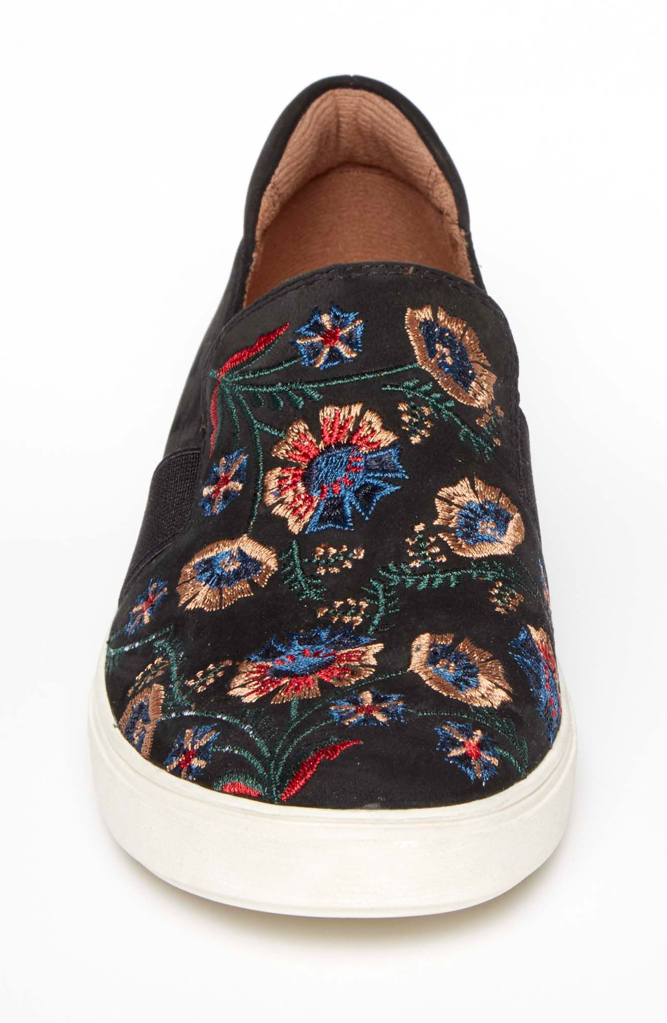 Cobb Hill Flower Embroidered Slip-On Sneaker,                             Alternate thumbnail 4, color,                             BLACK NUBUCK