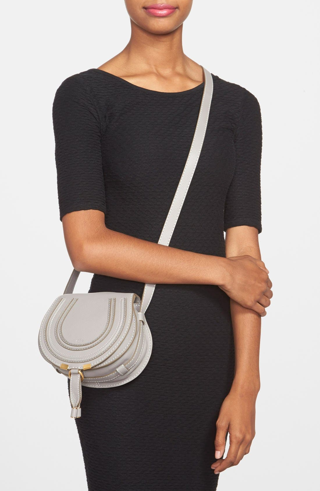 'Mini Marcie' Leather Crossbody Bag,                             Alternate thumbnail 2, color,                             CASHMERE GREY