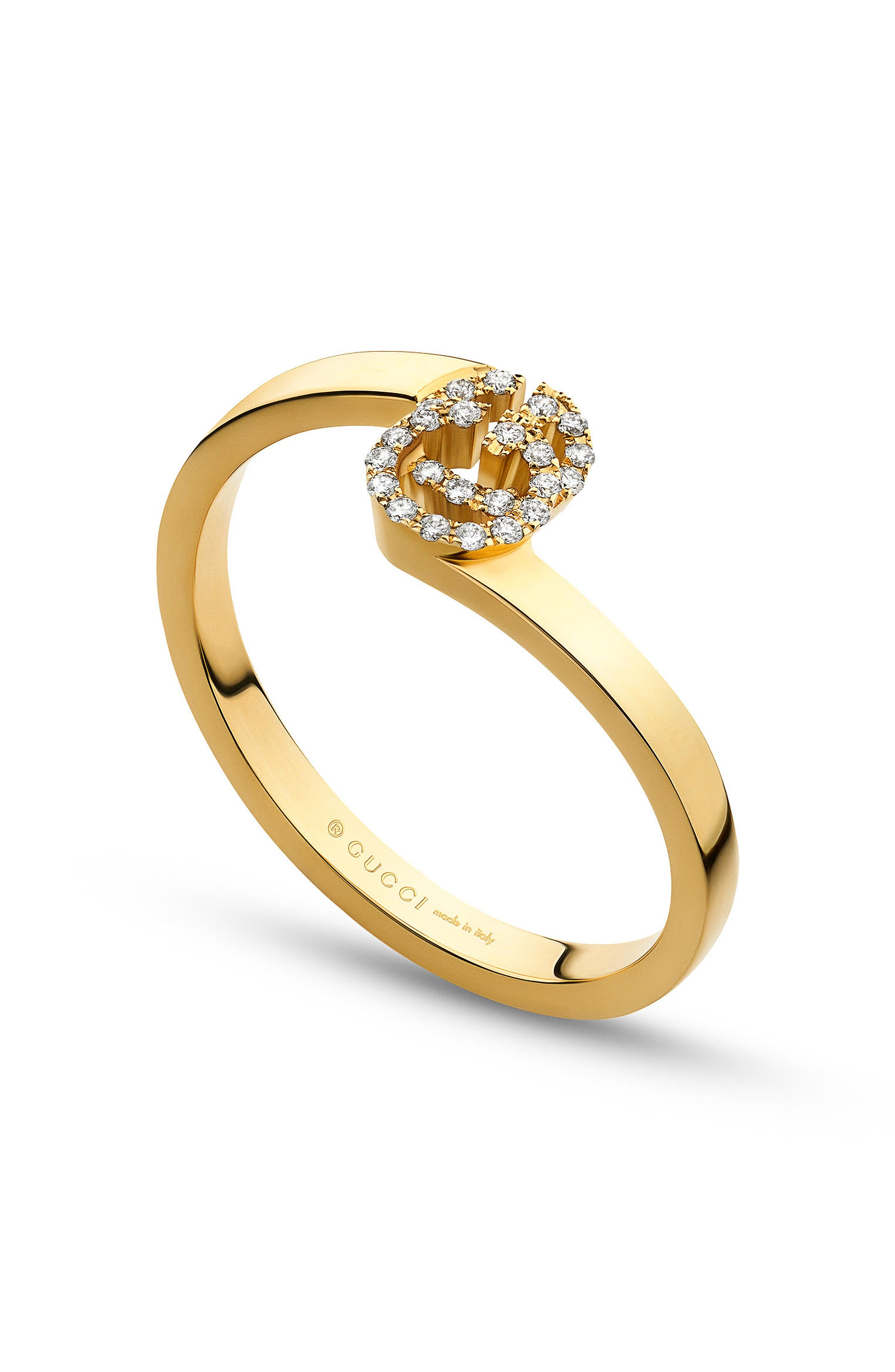 Double-G Diamond Stack Ring,                         Main,                         color, YELLOW GOLD