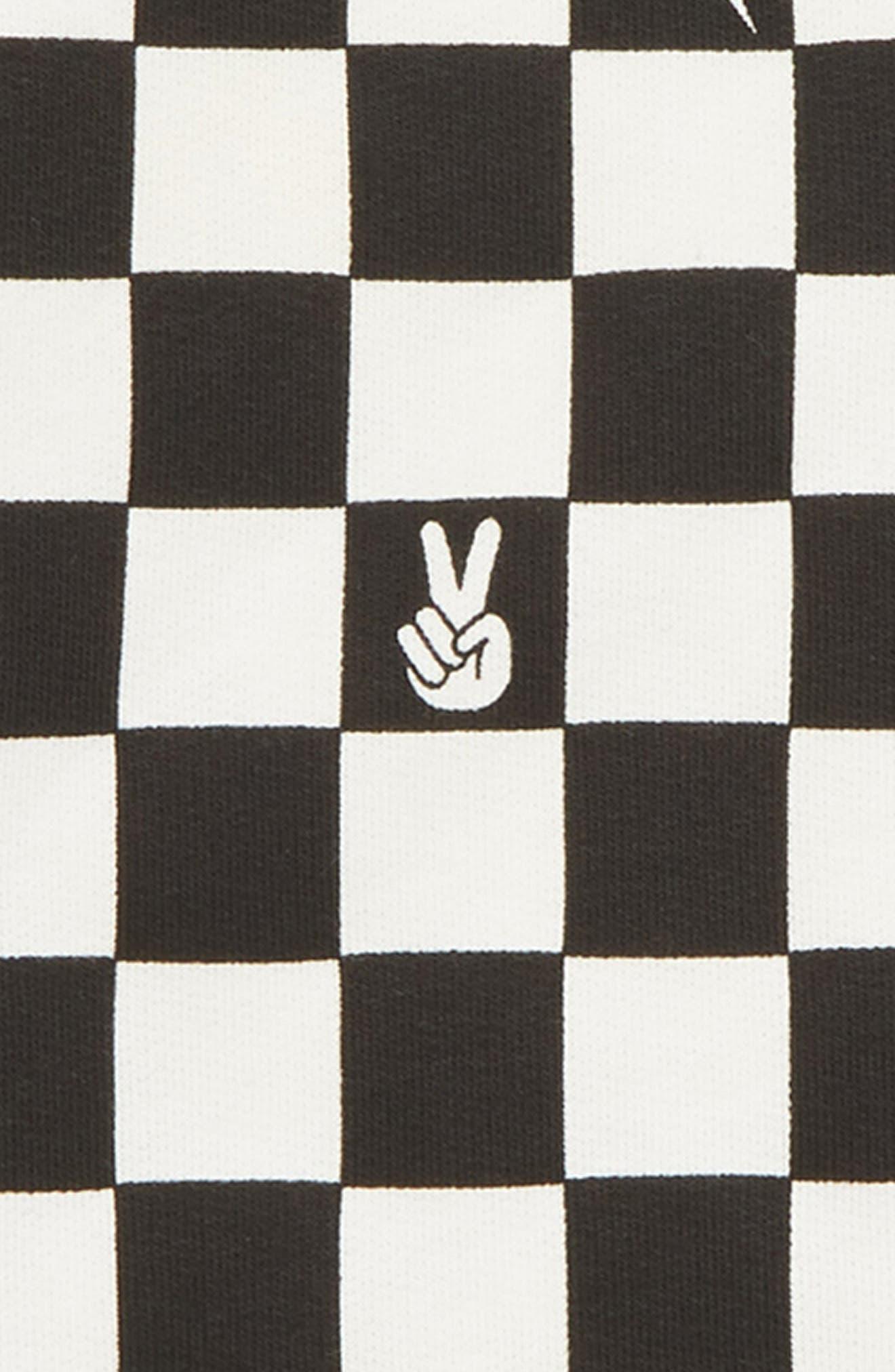 TINY WHALES,                             Checker Sweatshirt,                             Alternate thumbnail 2, color,                             BLACK/ WHITE