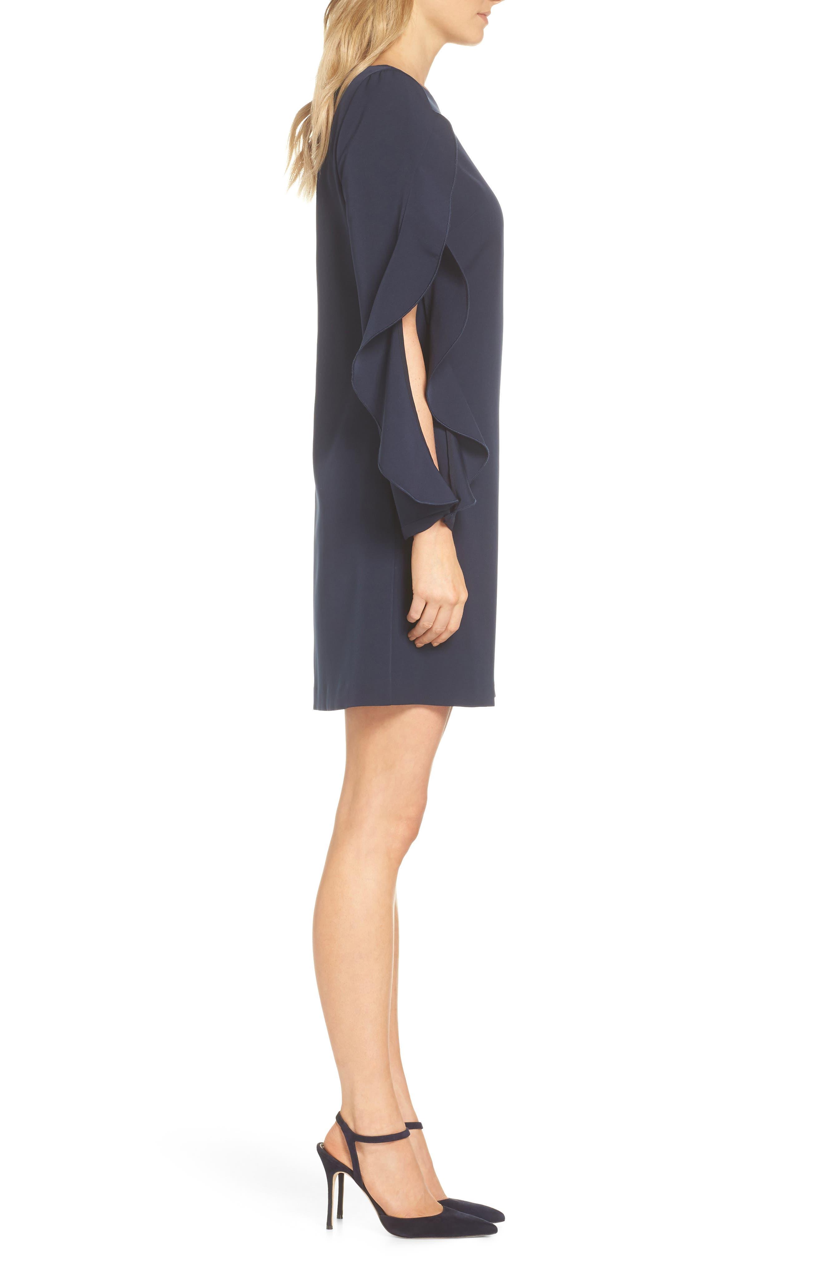Crepe Ruffle Sleeve Shift Dress,                             Alternate thumbnail 3, color,                             410