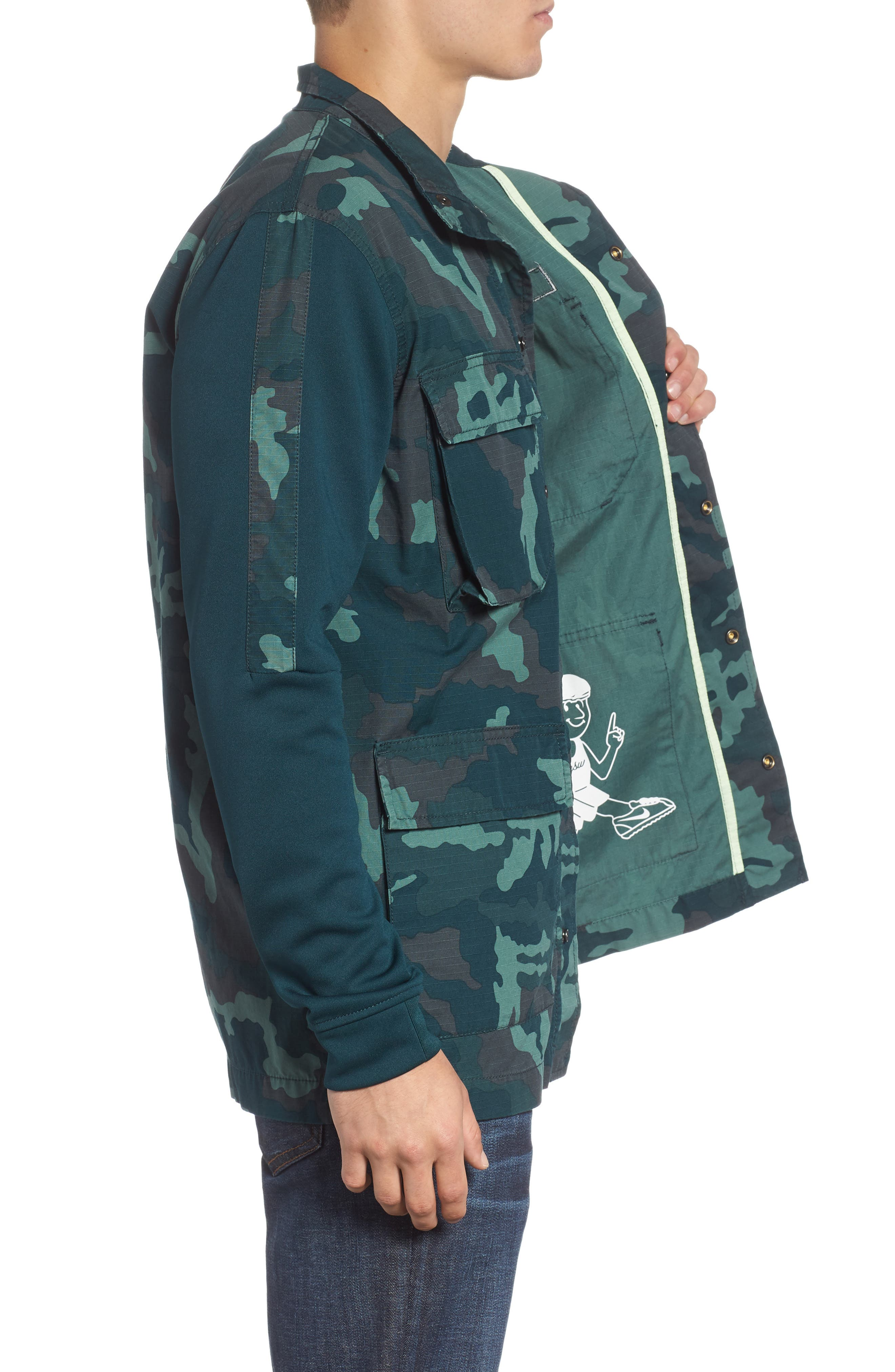 NSW Lightweight Camo Field Jacket,                             Alternate thumbnail 3, color,                             MIDNIGHT SPRUCE