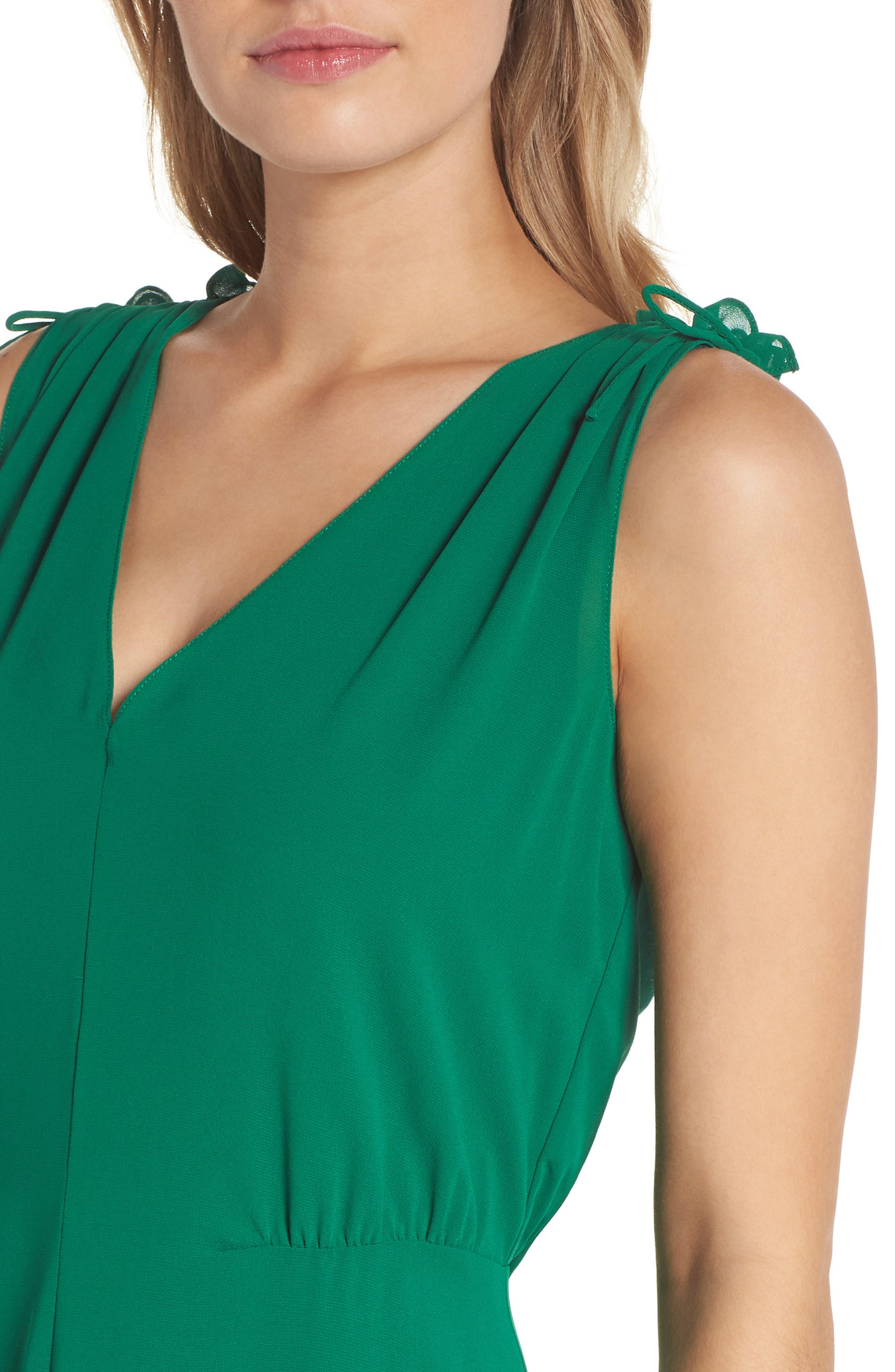 Soufflé V-Neck Chiffon Dress,                             Alternate thumbnail 4, color,                             310