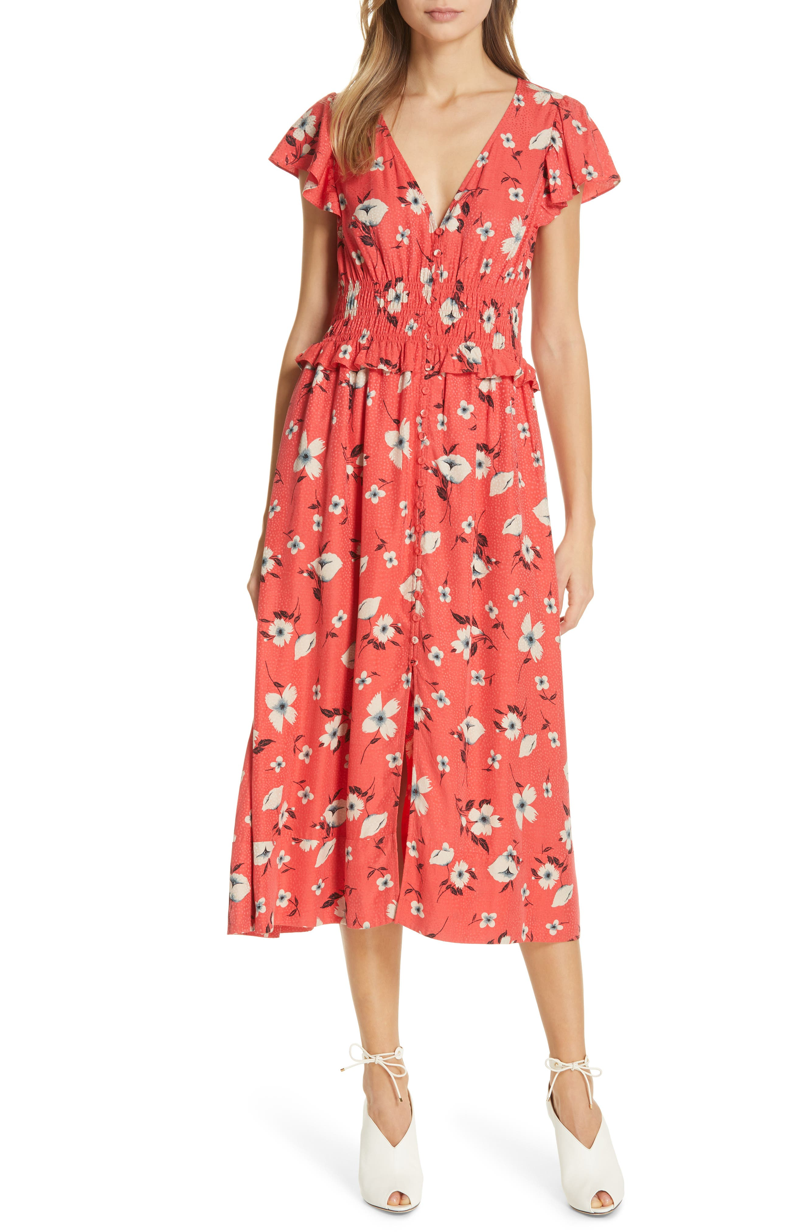 Rebecca Taylor Daniella Floral Jacquard Silk Blend Dress, None